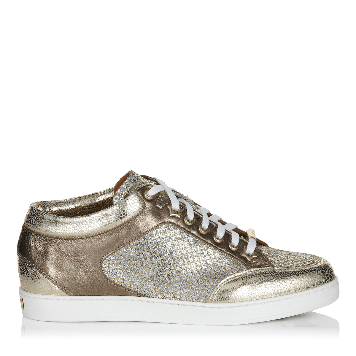 MIAMI Champagne Glitter Fabric and Metallic Nappa Sneakers by Jimmy Choo