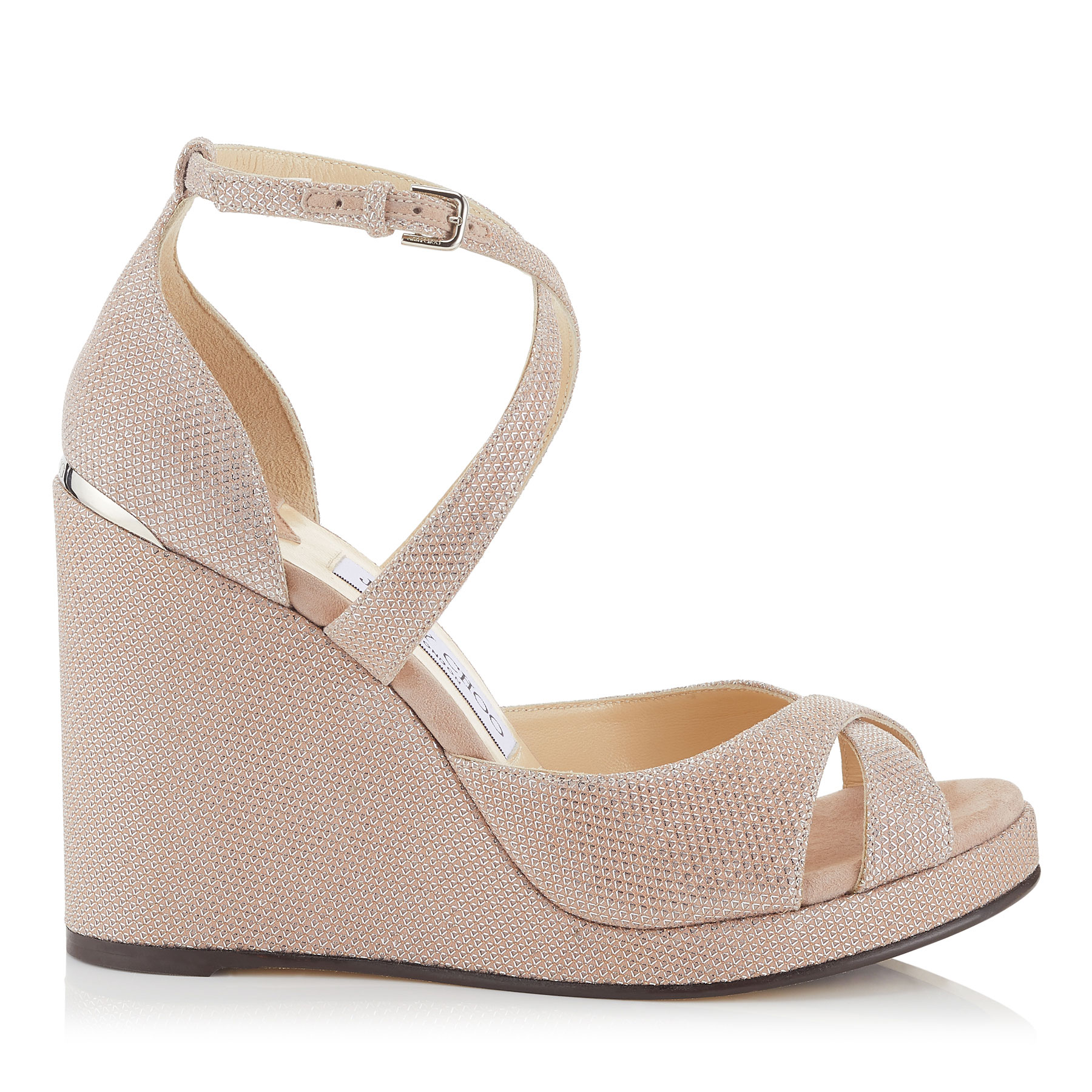 ALANAH 105 Ballet Pink Glitter Mesh on Suede Wedges by Jimmy Choo