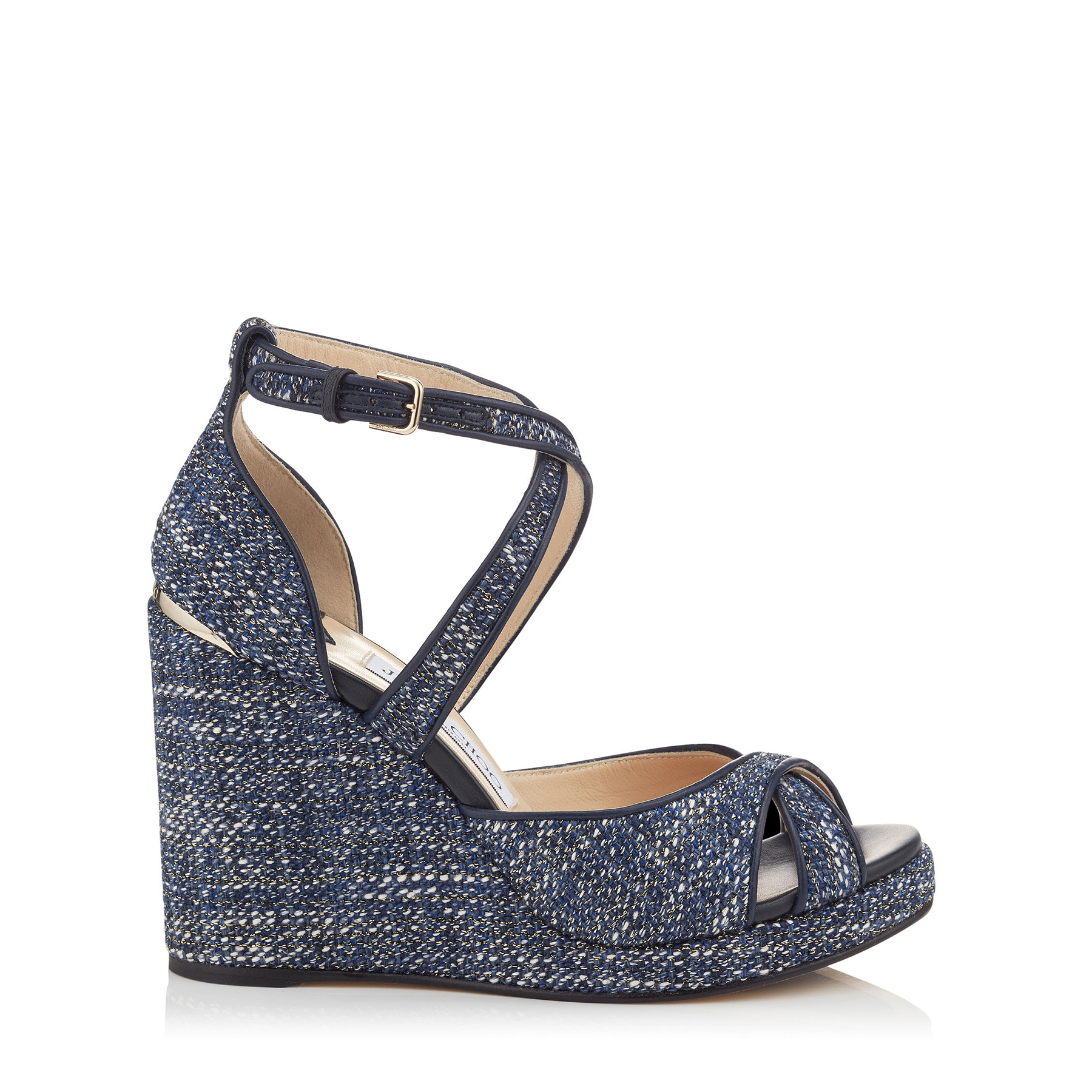 ALANAH 105 Navy Mix Metallic Tweed Wedges by Jimmy Choo