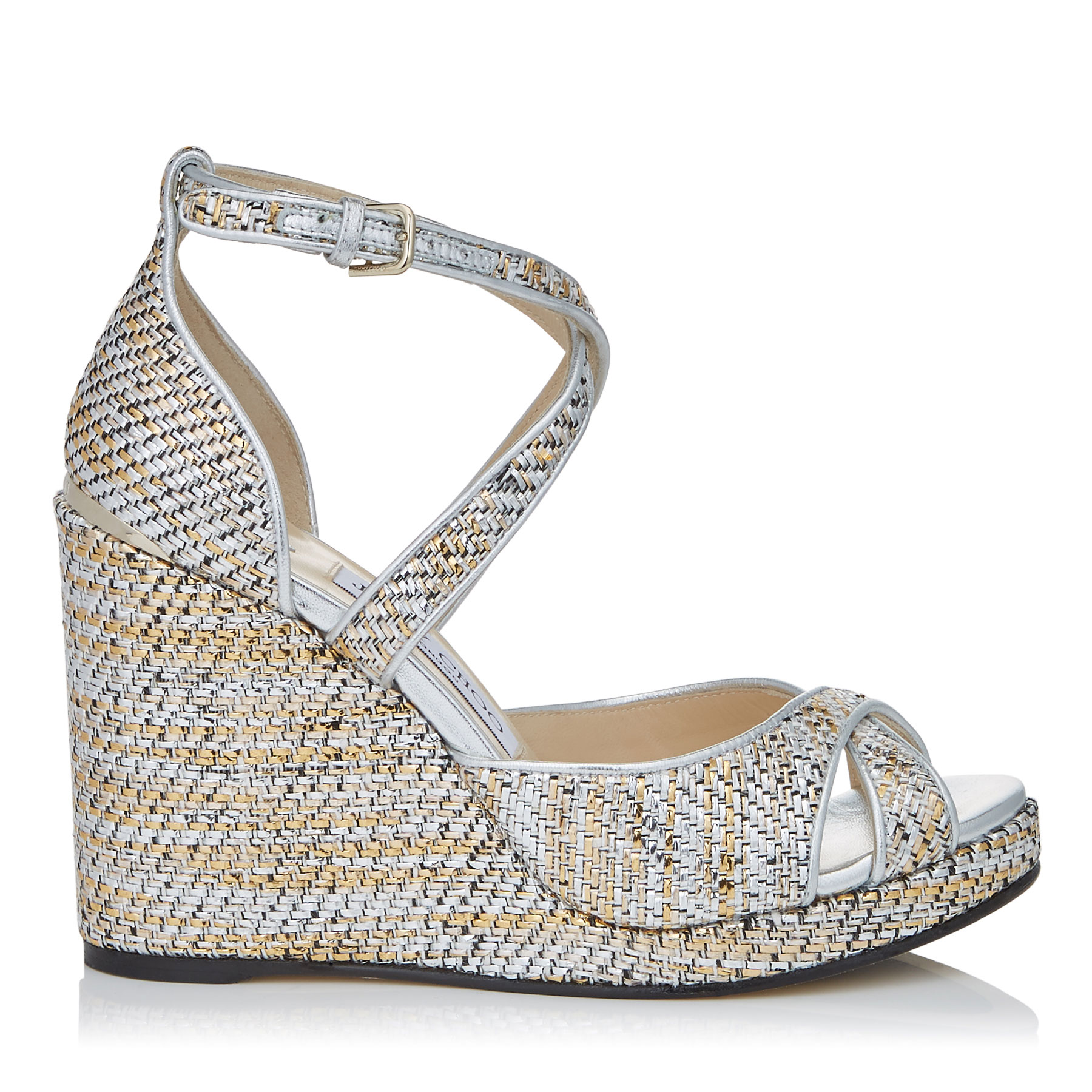 ALANAH 105 Silver Mix Woven Metallic Fabric Wedges by Jimmy Choo