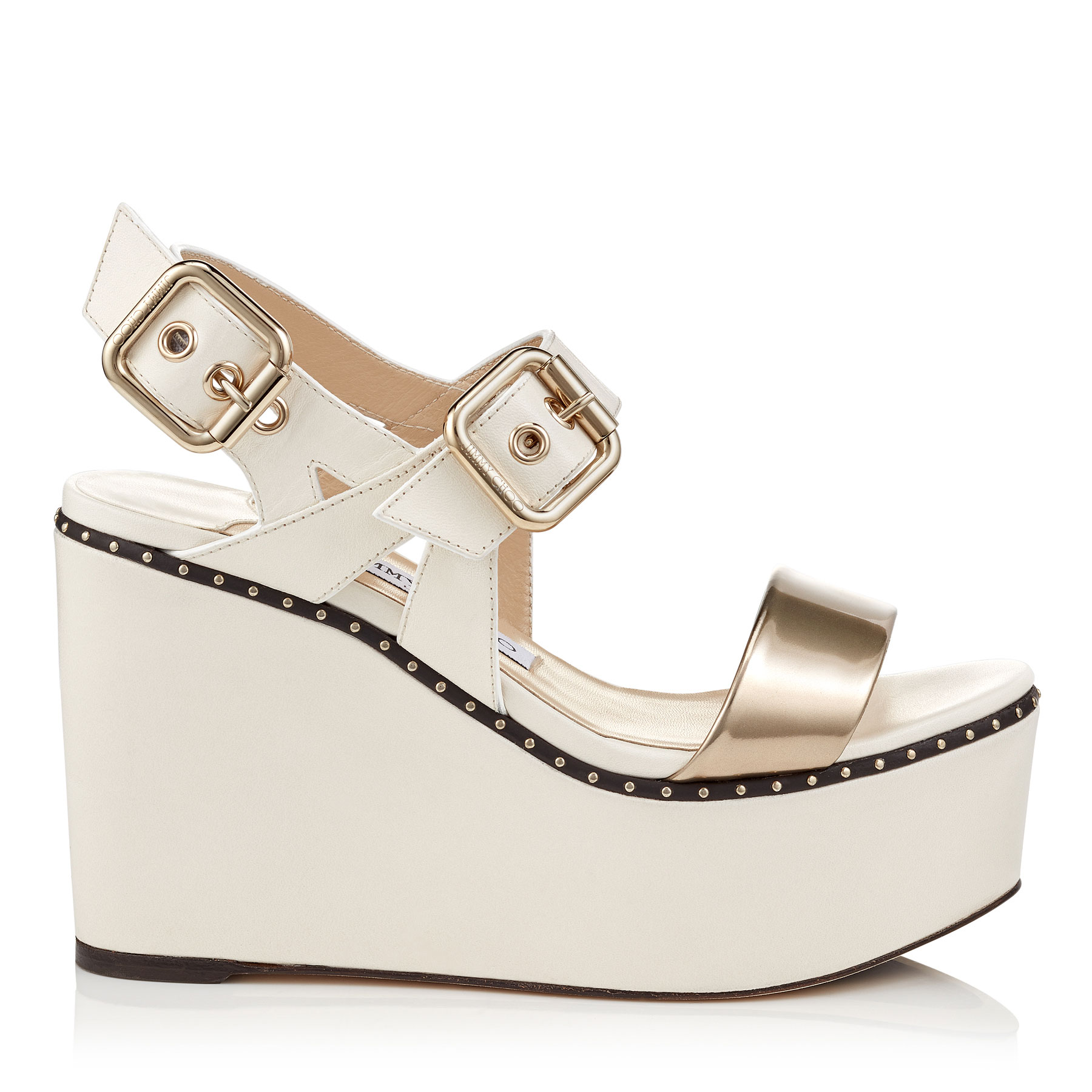 ALTON 100 Chalk Vacchetta and Gold Liquid Mirror Leather Wedges by Jimmy Choo