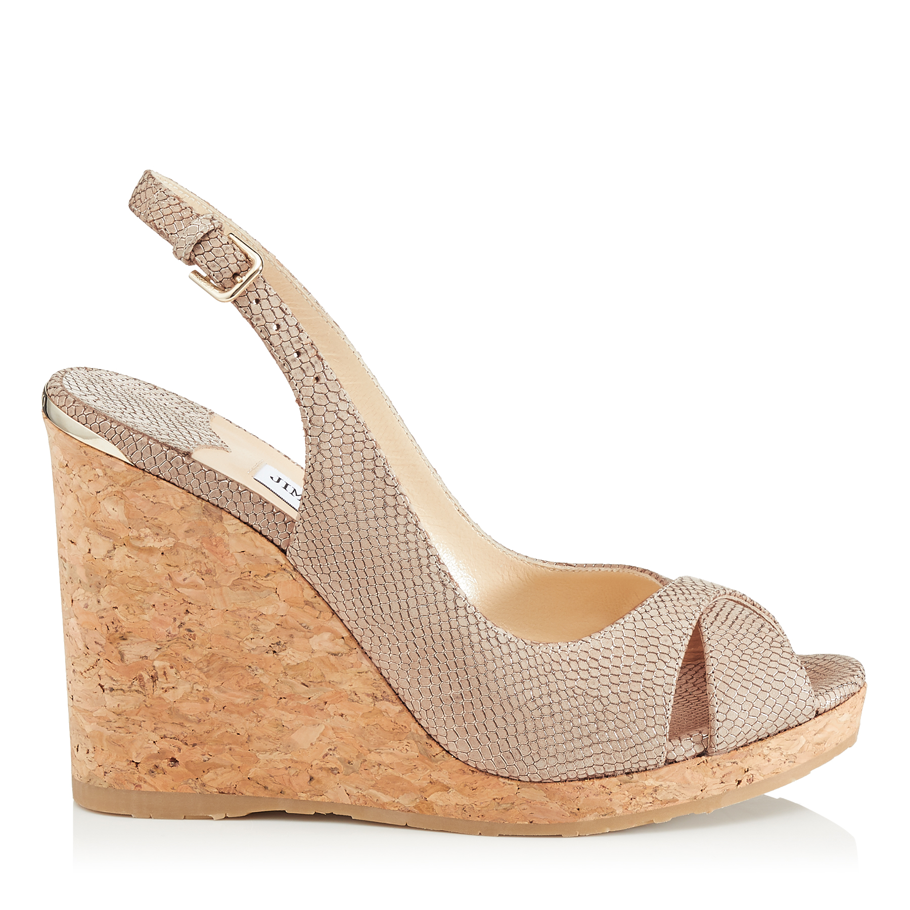 AMELY 105 Nude Printed Metallic Leather Slingback Wedges by Jimmy Choo