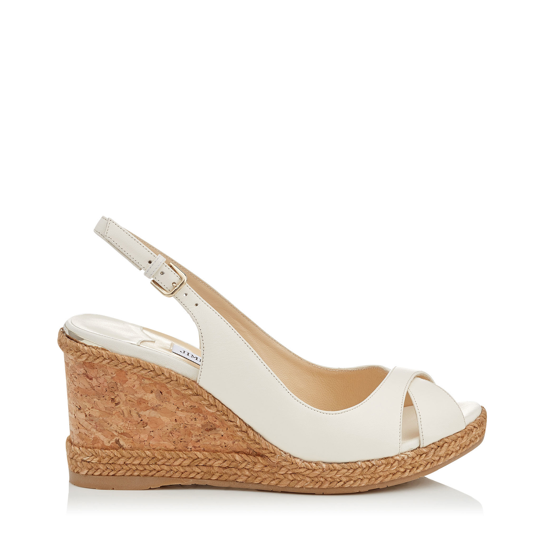AMELY 80 Chalk Nappa Leather Sandals with Braid trim Wedge by Jimmy Choo