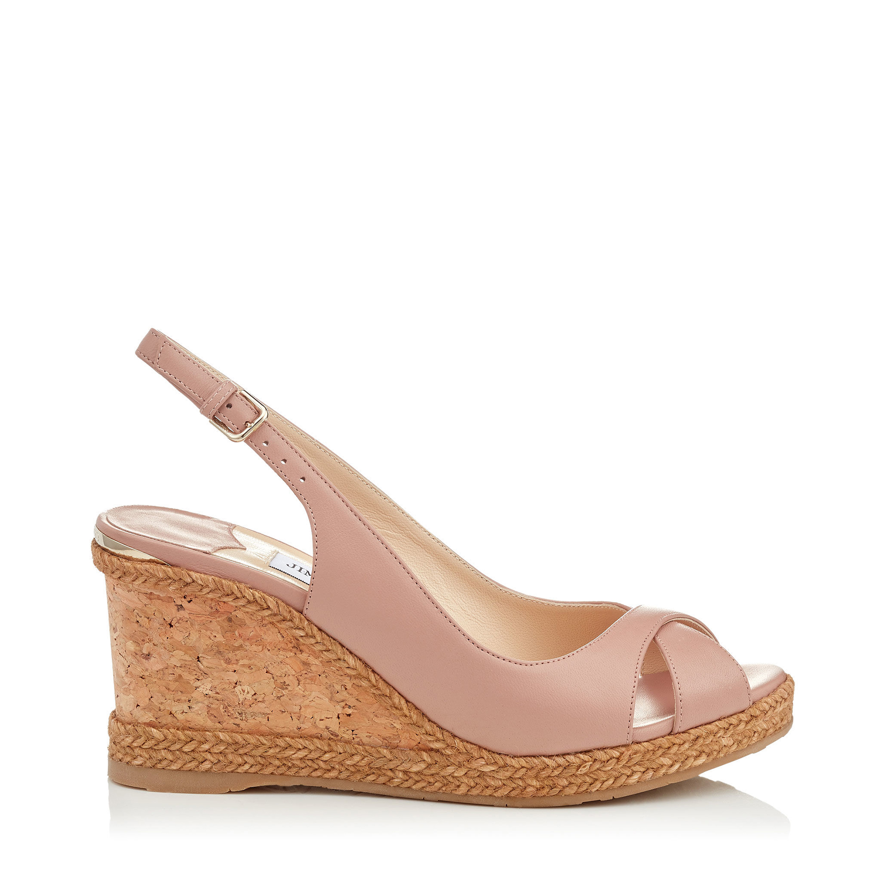 AMELY 80 Ballet Pink Nappa Leather Slingback Wedges by Jimmy Choo