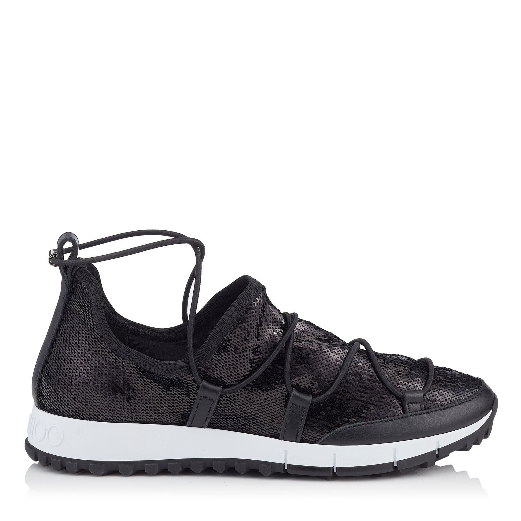 ANDREA Black Stretched Paillettes Trainers by Jimmy Choo