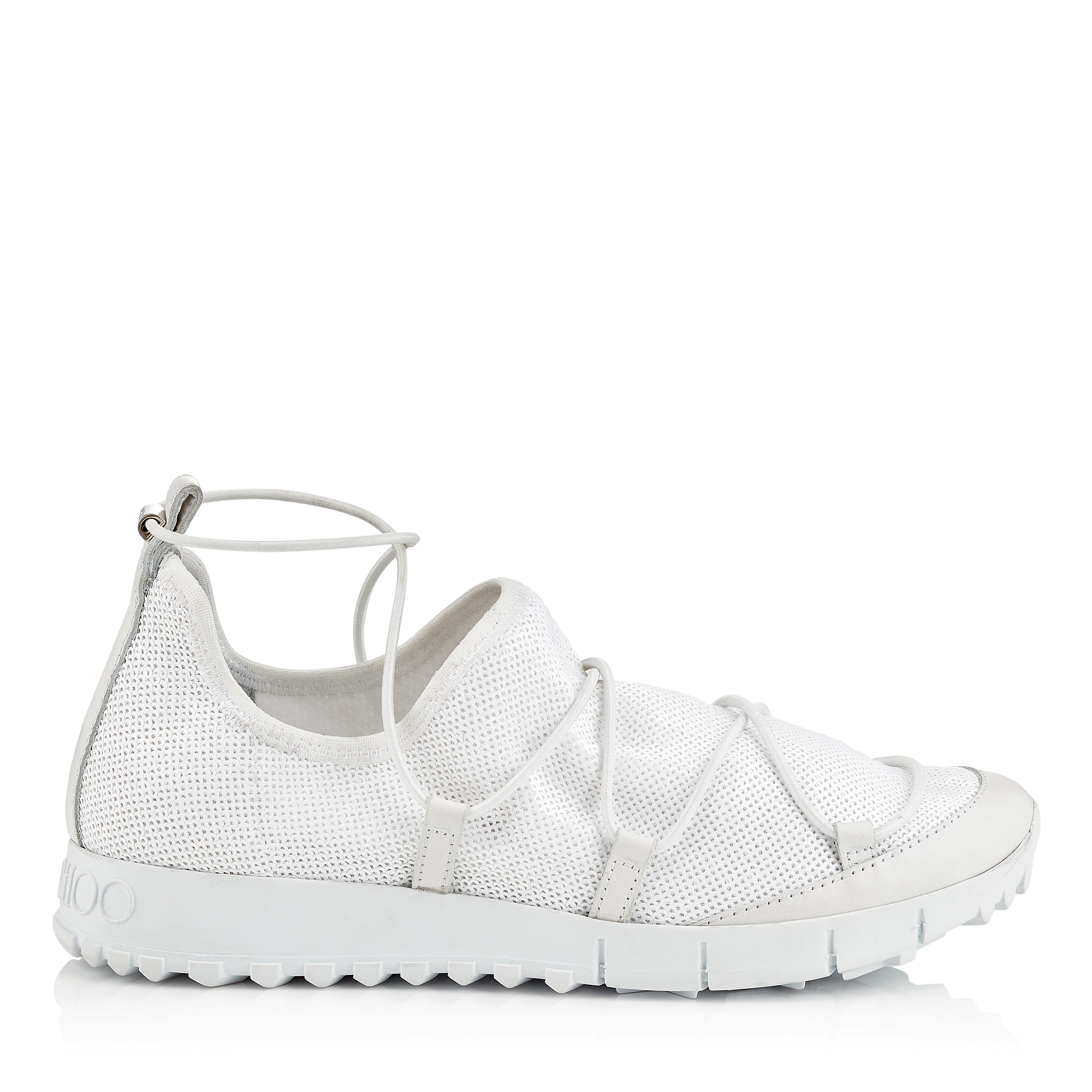 ANDREA White Stretched Pailettes Slip On Trainers by Jimmy Choo
