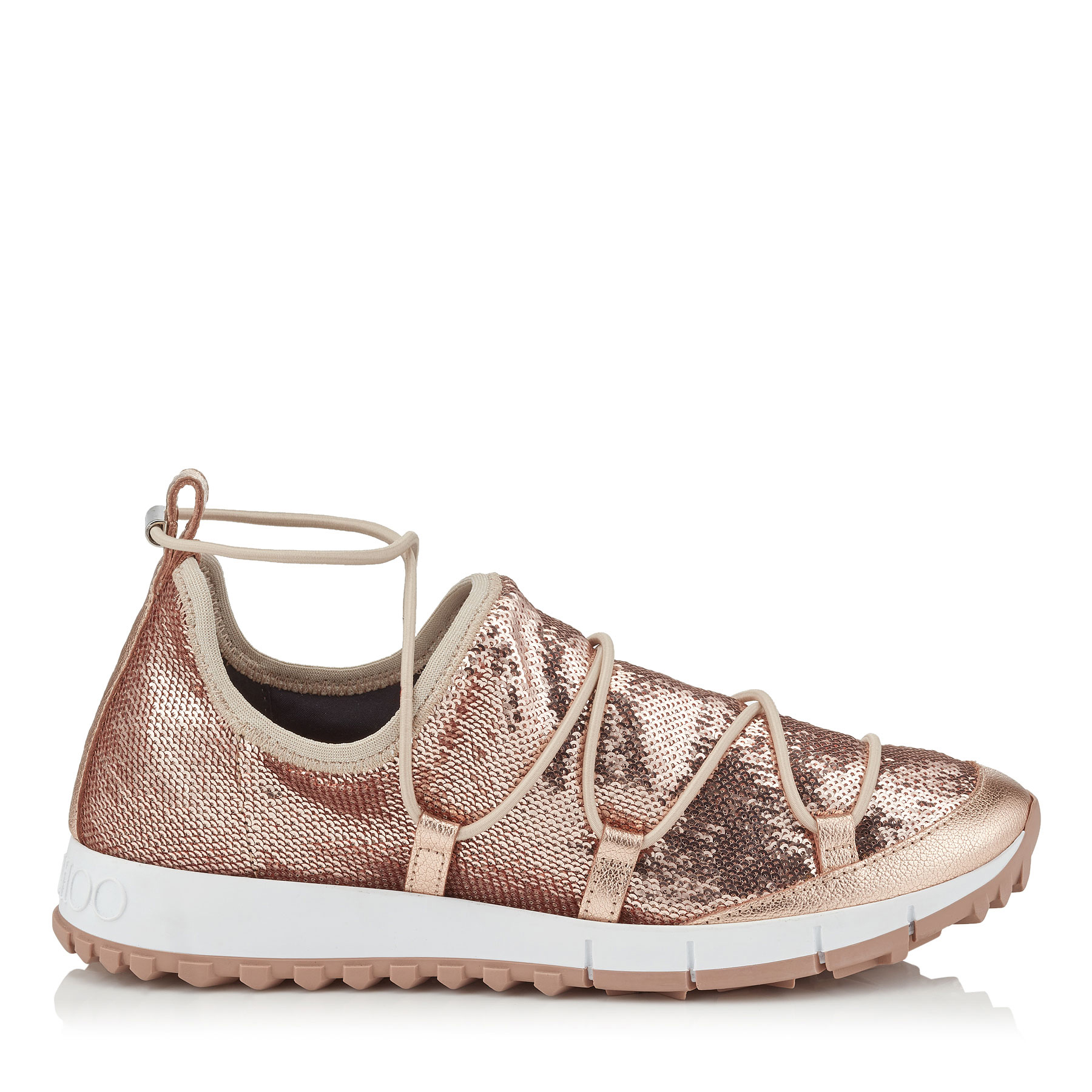 ANDREA Tea Rose Stretched Pailettes Slip On Trainers by Jimmy Choo