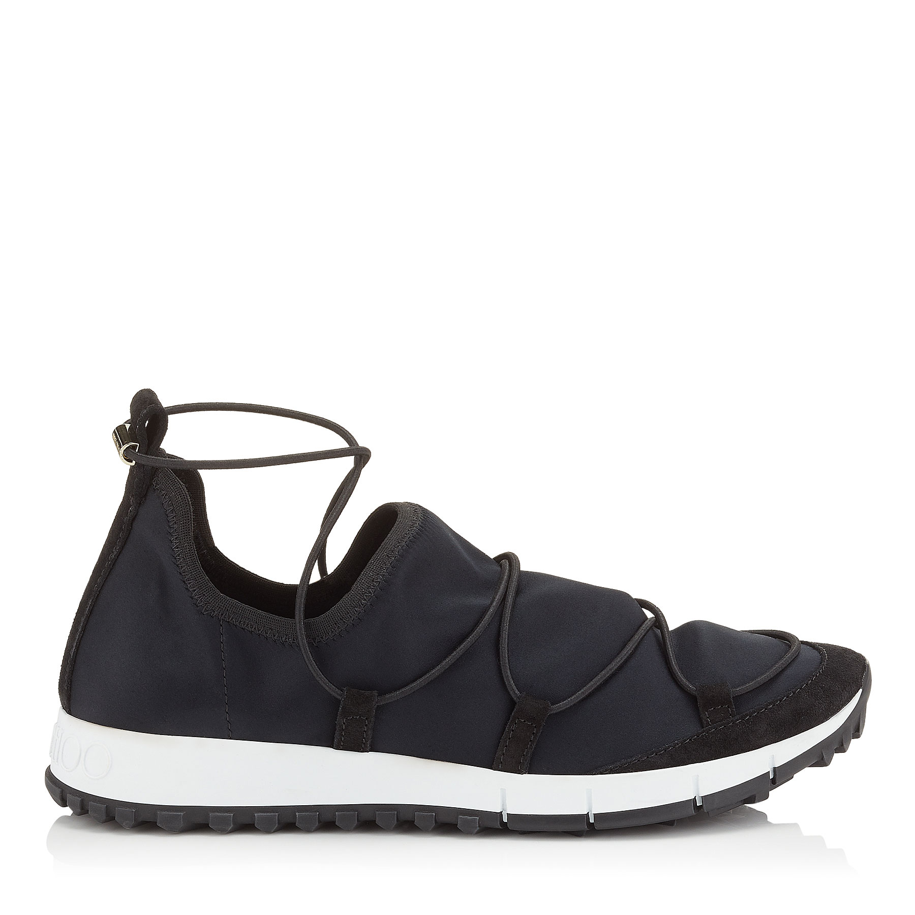 ANDREA Black Stretch Satin and Suede Trainers by Jimmy Choo