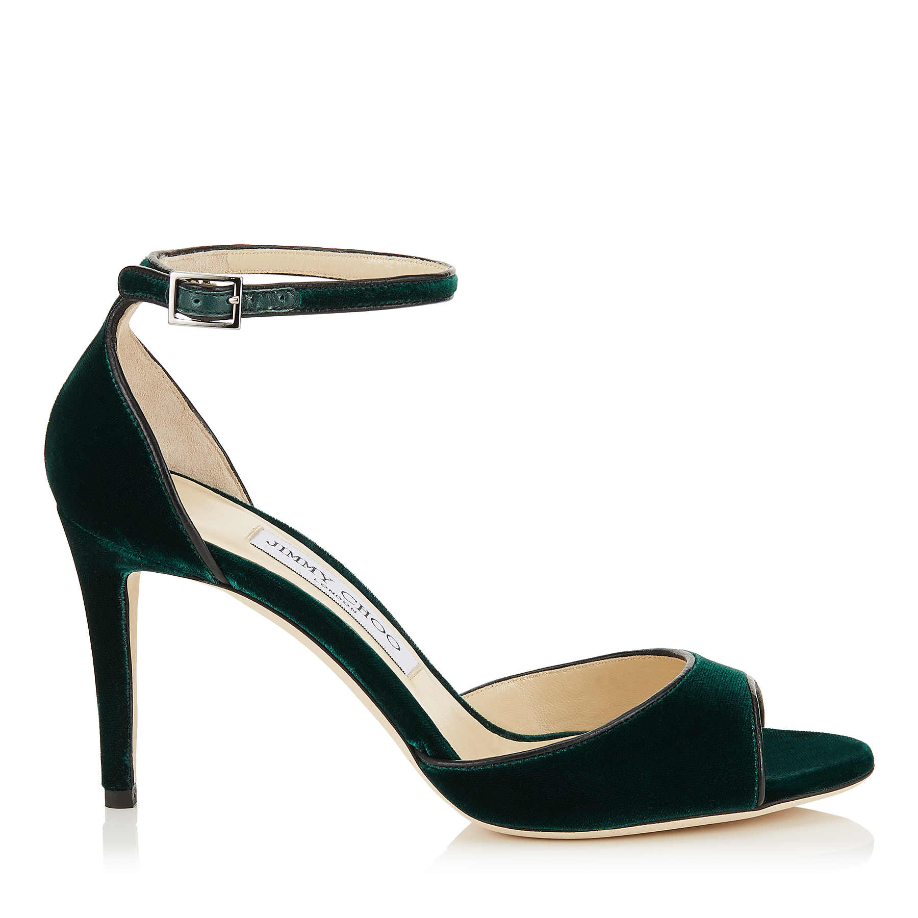 ANNIE 85 Bottle Green Velvet Peep Toe Sandals by Jimmy Choo