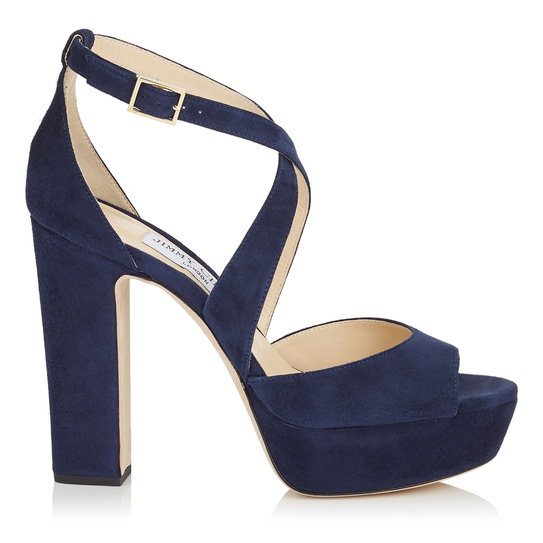 APRIL 120 Navy Suede Platform Sandals by Jimmy Choo