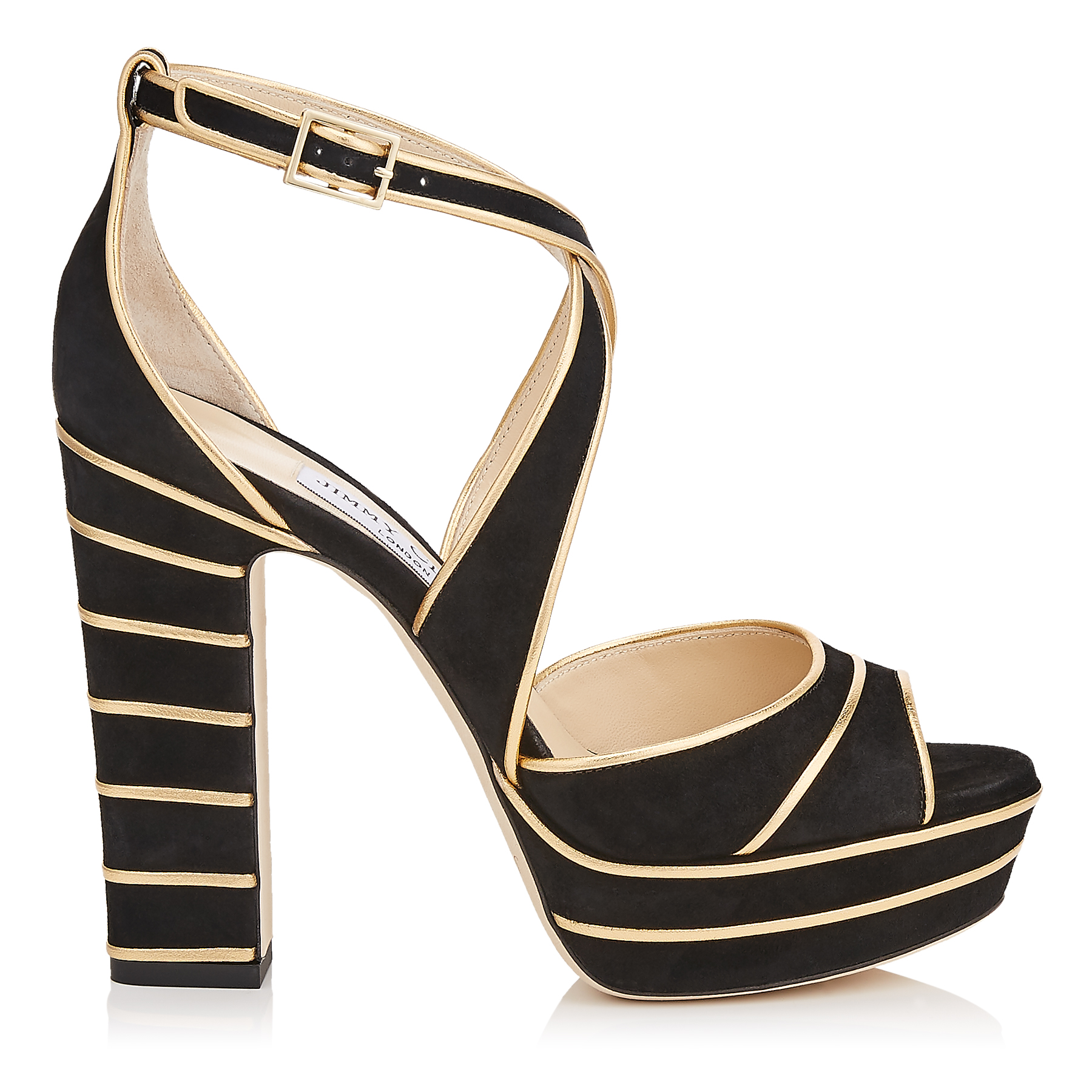 APRIL 120 Black Suede Platform Sandals with Gold Metallic Nappa Leather Piping by Jimmy Choo