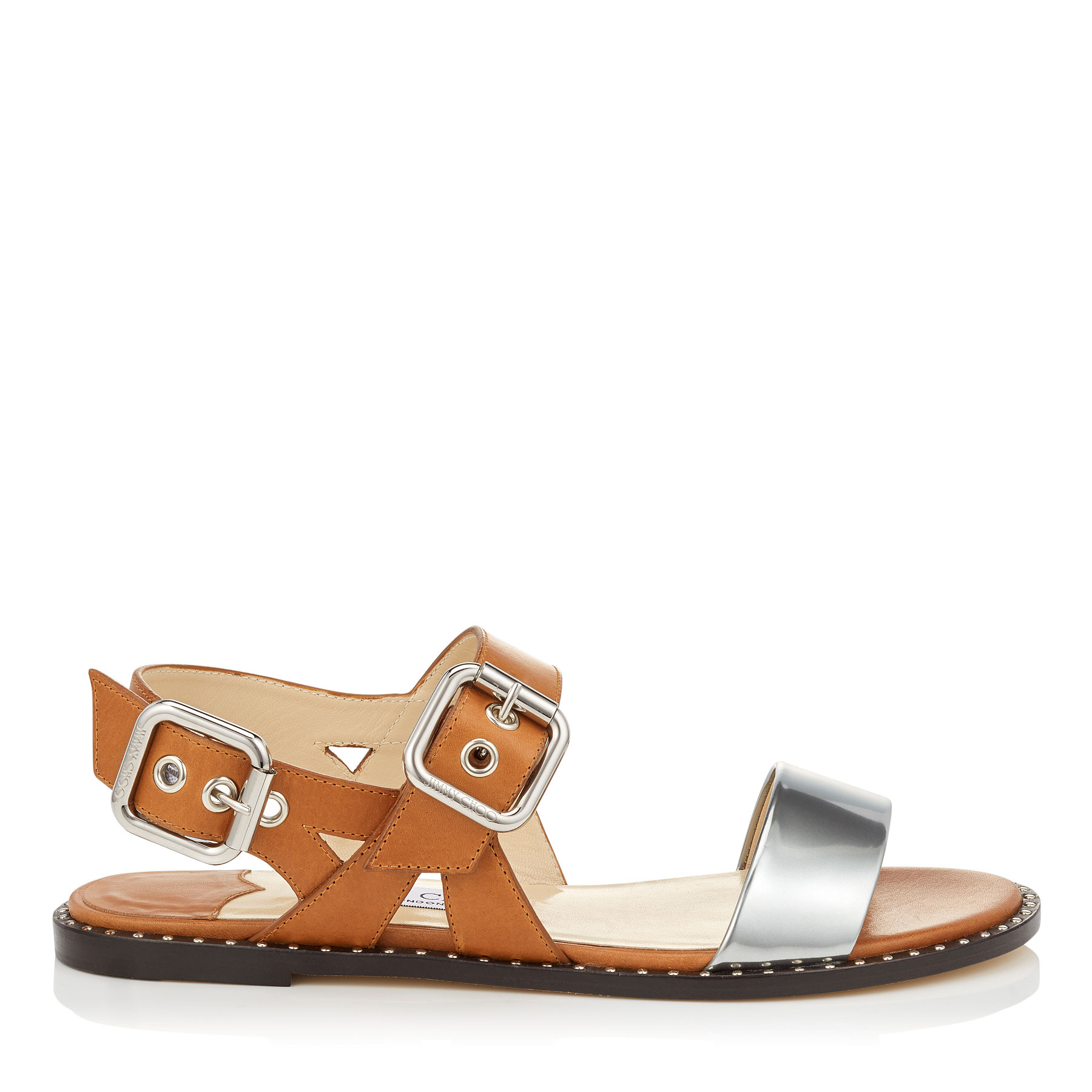 ASTRID FLAT Tan Vacchetta and Silver Liquid Leather Sandals by Jimmy Choo