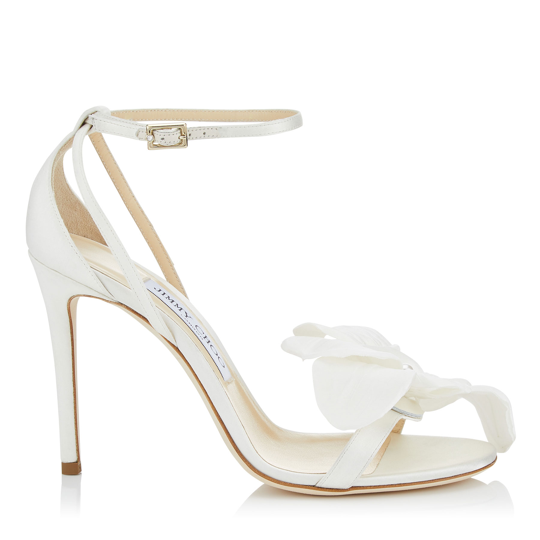 AURELIA 100 Ivory Satin Sandals with Orchid by Jimmy Choo