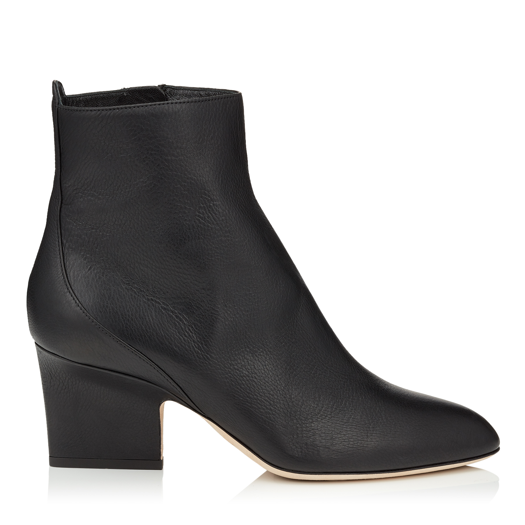 AUTUMN 65 Black Grainy Leather Round Toe Booties by Jimmy Choo