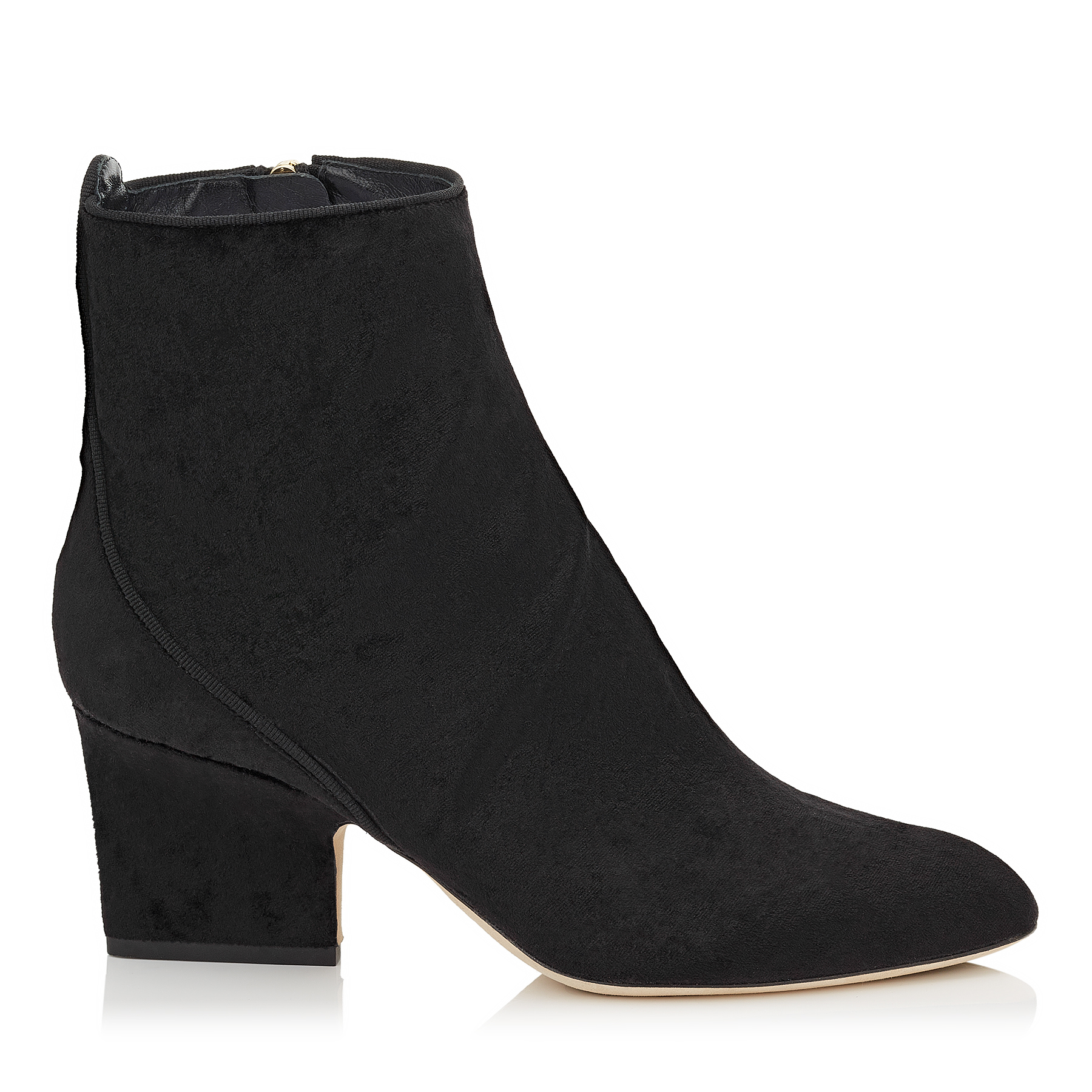 AUTUMN 65 Black Crushed Velvet Round Toe Booties by Jimmy Choo