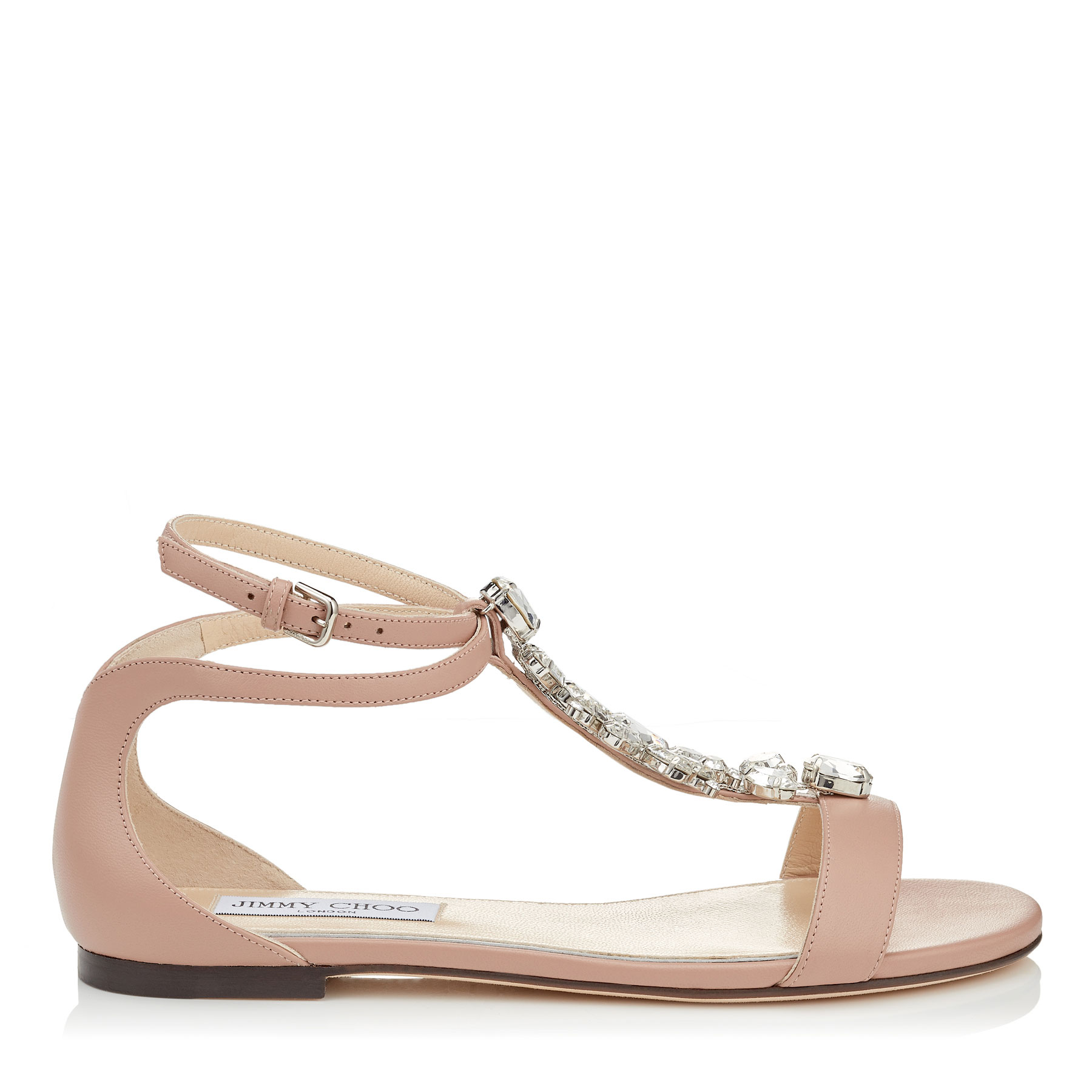 AVERIE FLAT Ballet Pink Nappa Leather Sandals with Silver Crystal Piece by Jimmy Choo