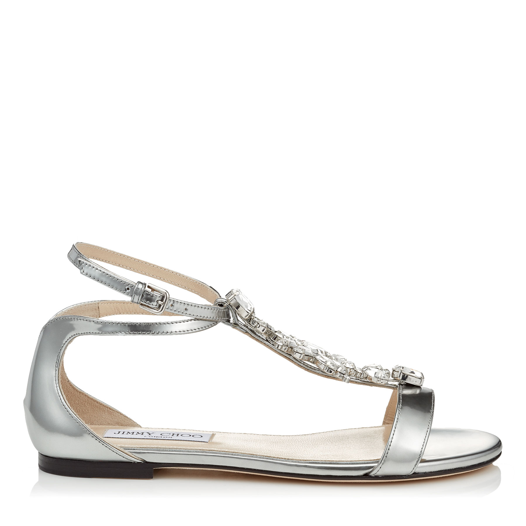 AVERIE FLAT Silver Liquid Mirror Sandals with Silver Crystal Piece by Jimmy Choo