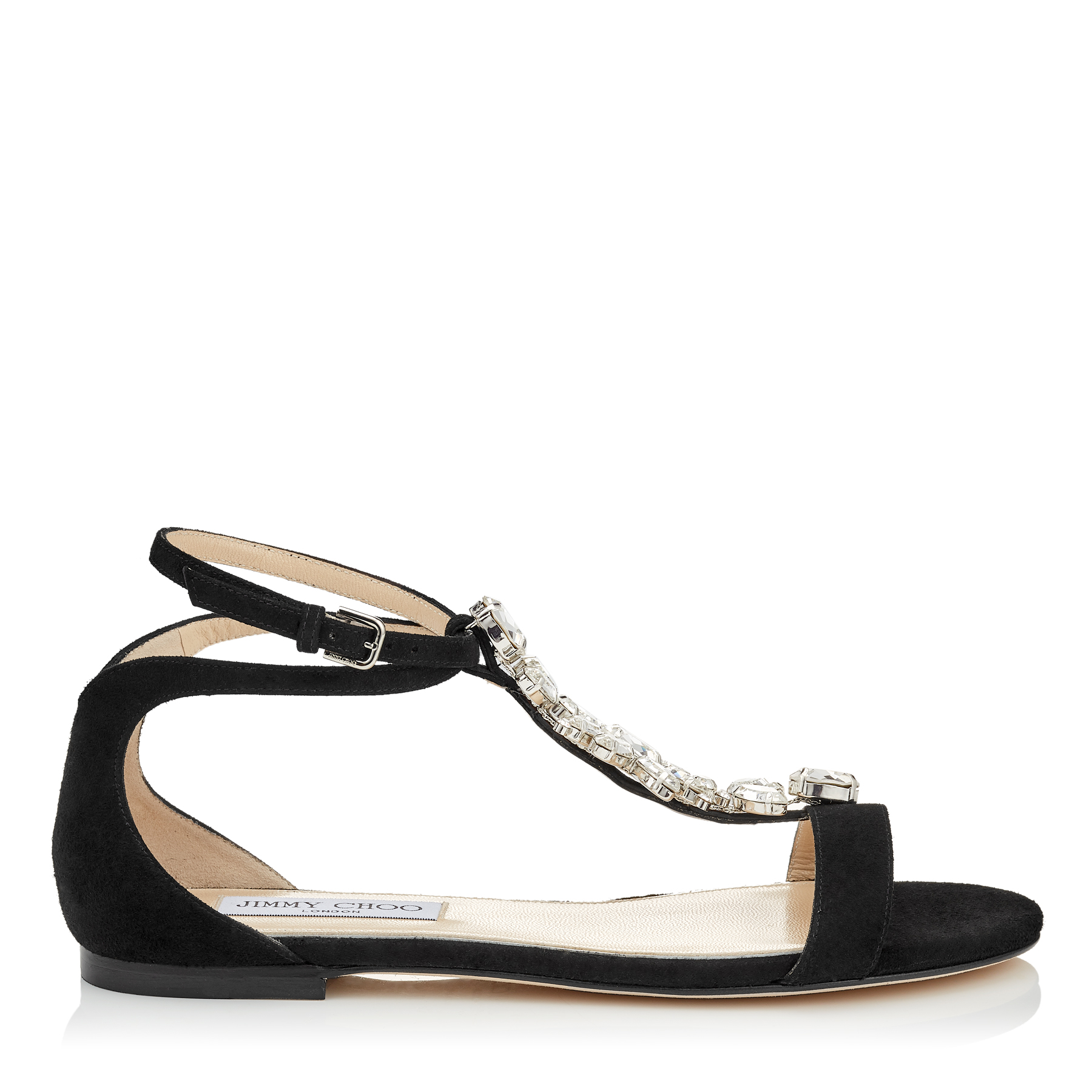 AVERIE FLAT Black Suede Sandals with Silver Crystal Piece by Jimmy Choo