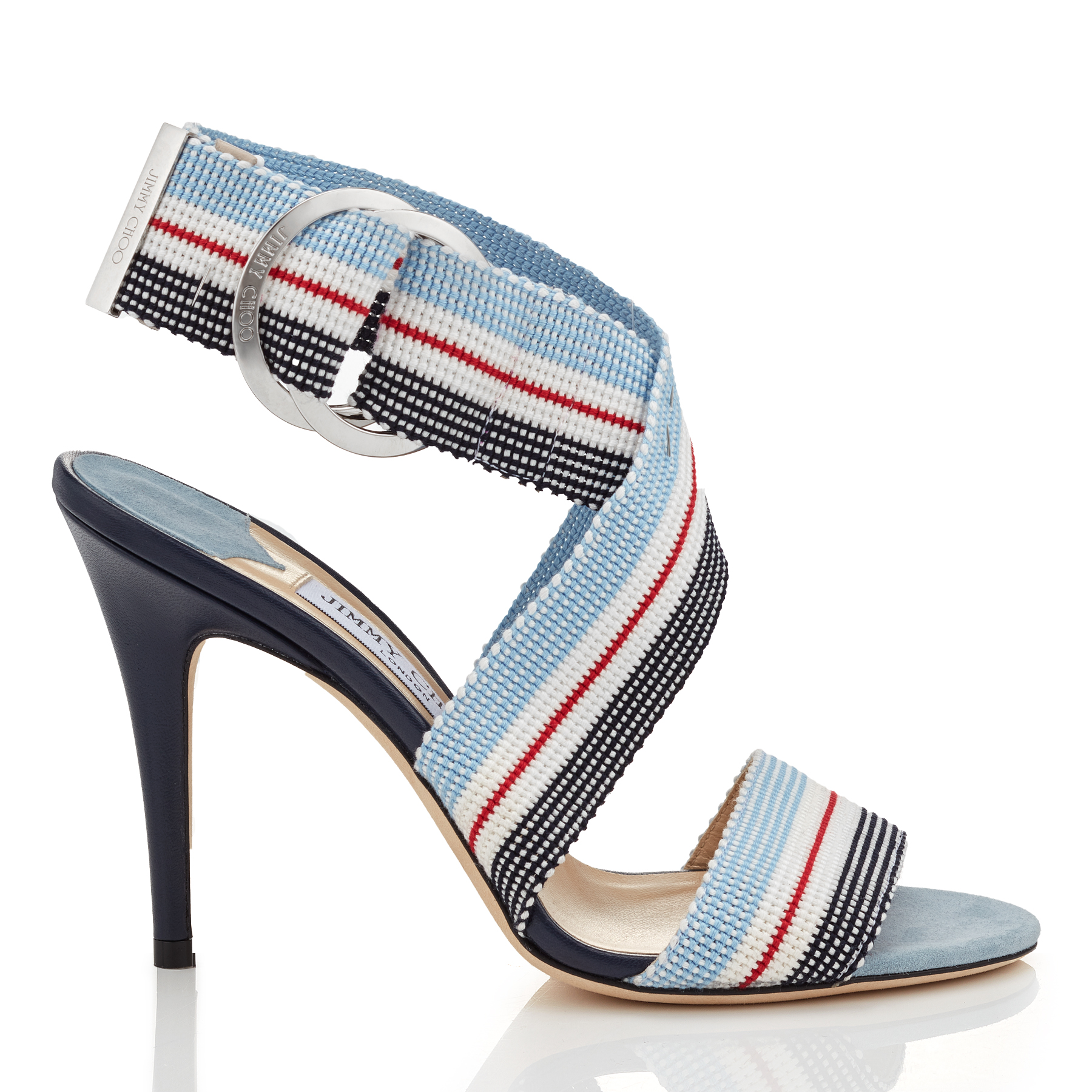 BAILEY 100 Aqua Mix Tape and Nappa Leather Sandals by Jimmy Choo