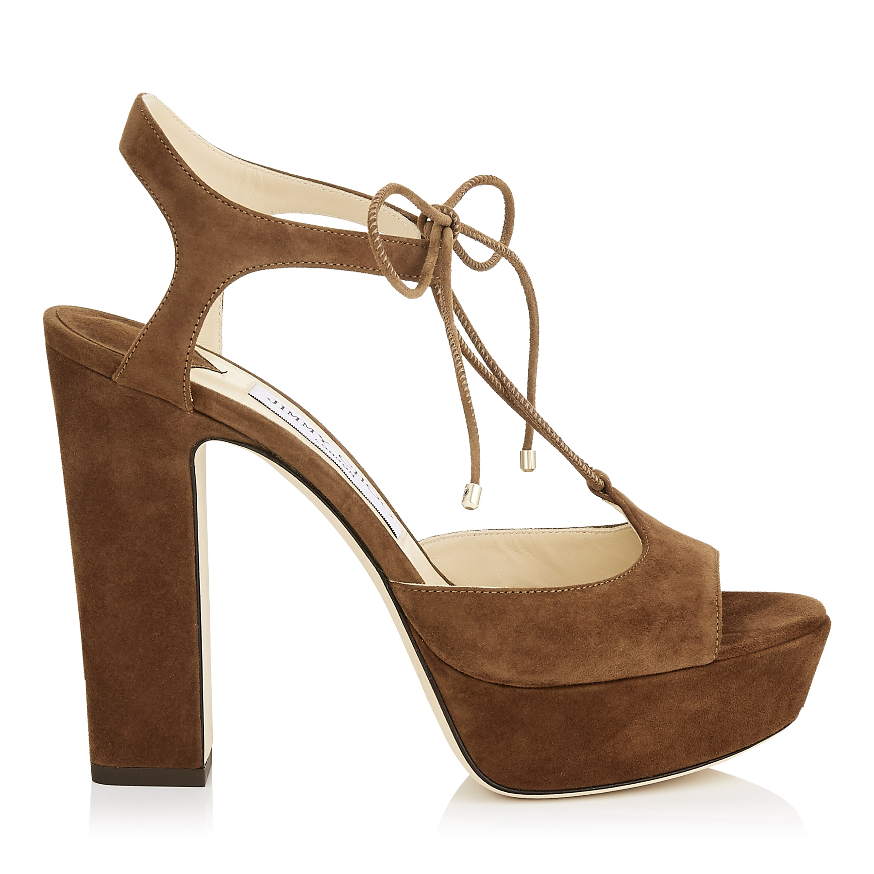 BELIZE 120 Cacao Suede Platform Sandals by Jimmy Choo