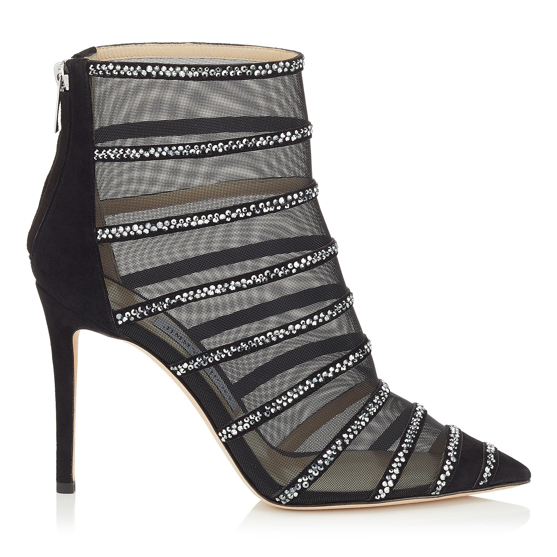 BELLE 100 Black Suede and Mesh Booties with Crystal Hotfix by Jimmy Choo