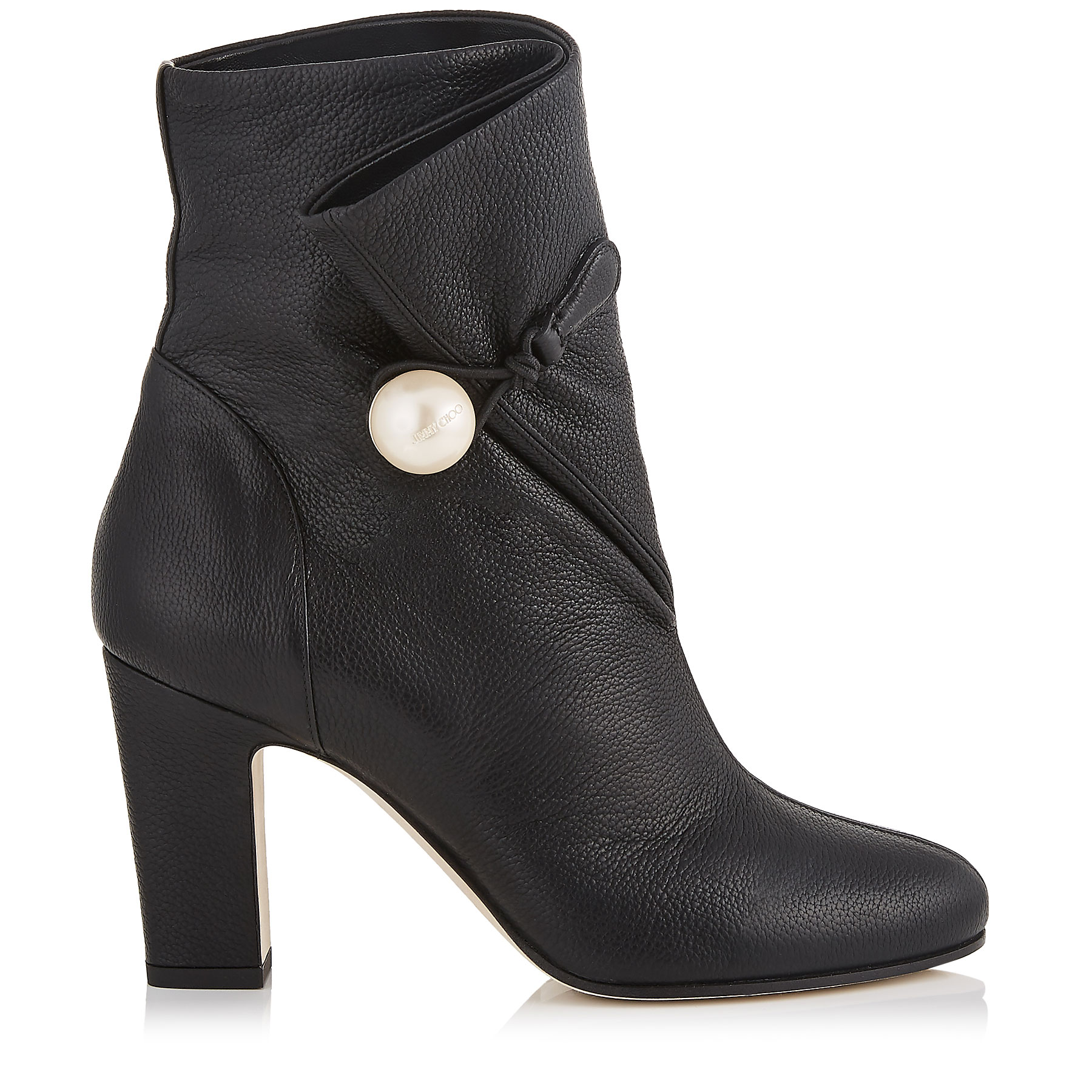 BETHANIE 85 Black Grainy Leather Booties with Pearl Detailing by Jimmy Choo