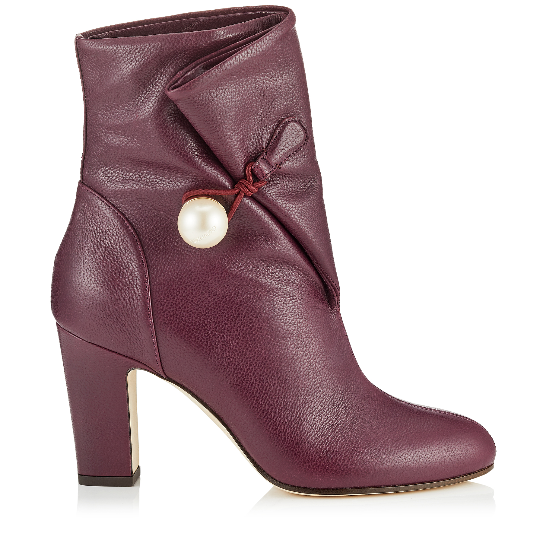 BETHANIE 85 Grape Grainy Leather Booties with Pearl Detailing by Jimmy Choo