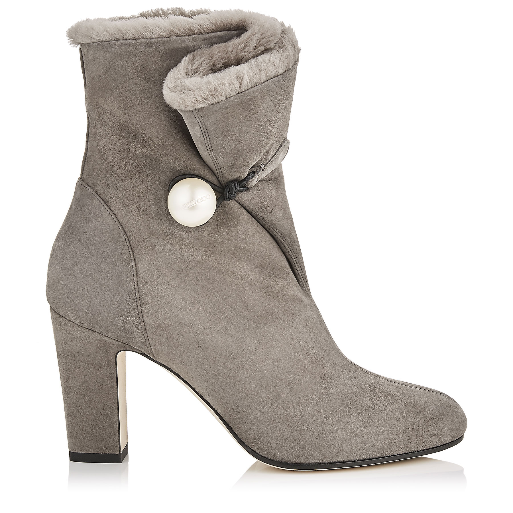 BETHANIE 85 Dark Grey Suede Leather Booties with Shearling Lining by Jimmy Choo