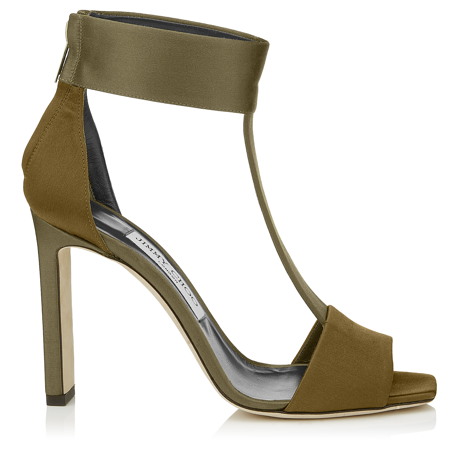 BETHEL 100 Olive Mix Satin Sandals by Jimmy Choo