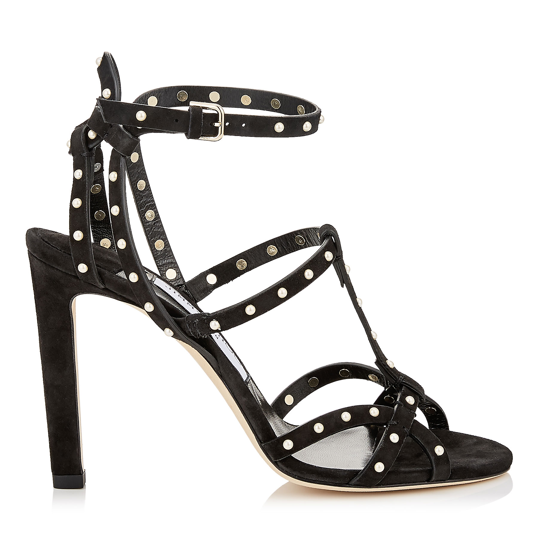 BEVERLY 100 Black Suede Sandals with Pearl Detailing by Jimmy Choo