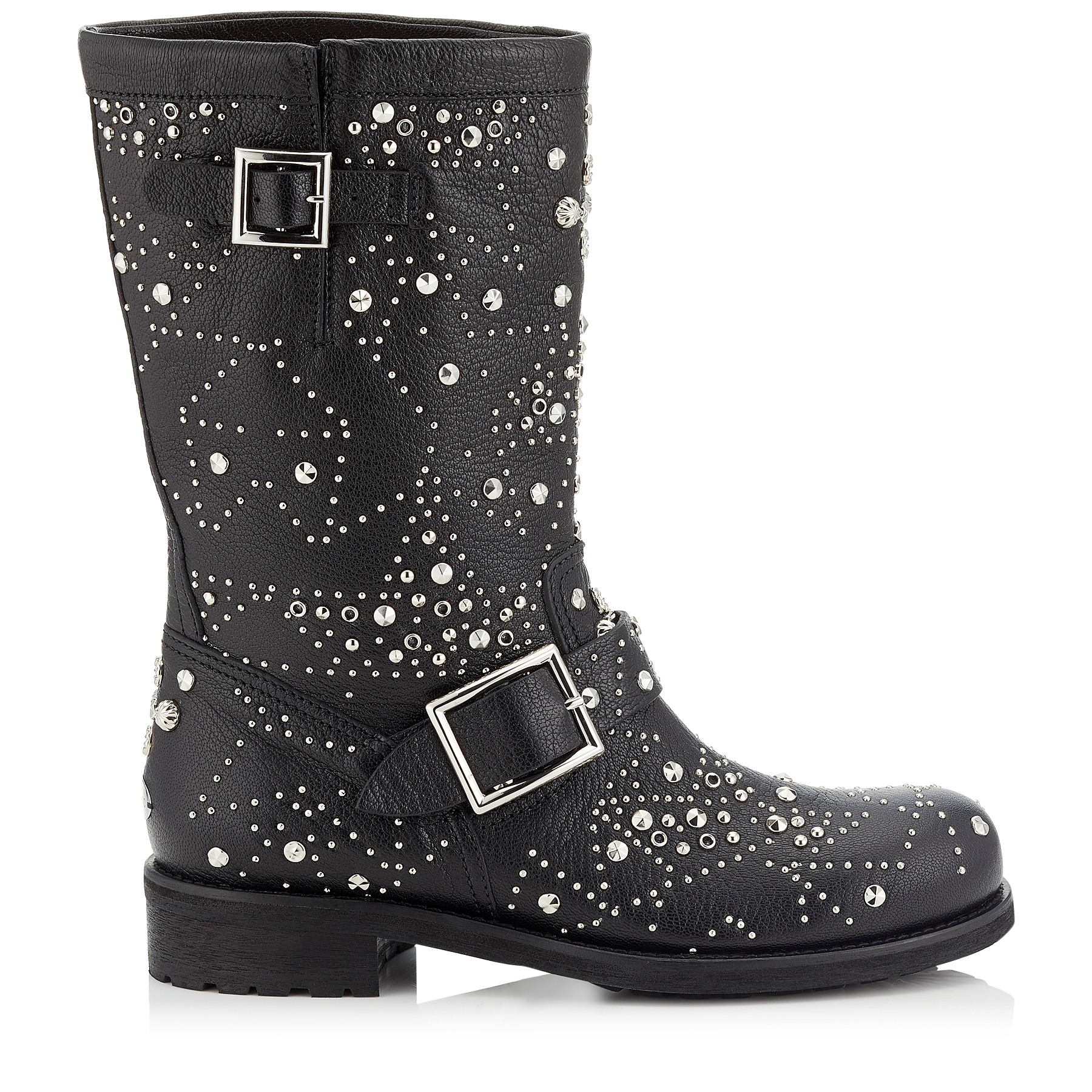 BIKER Black Leather Biker Boots with Graphic Star Studded Embellishment by Jimmy Choo