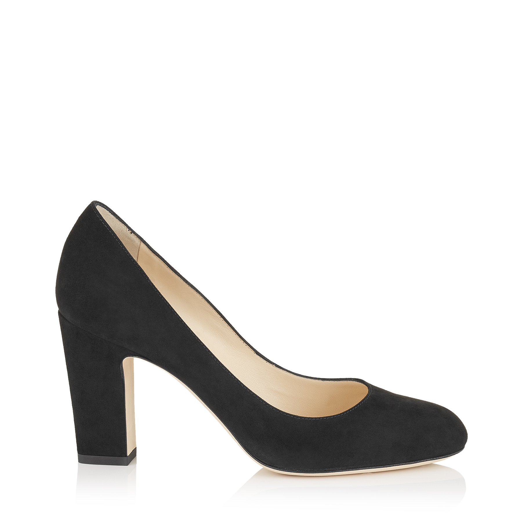 BILLIE 85 Black Suede Round Toe Pumps with Chunky Heel by Jimmy Choo