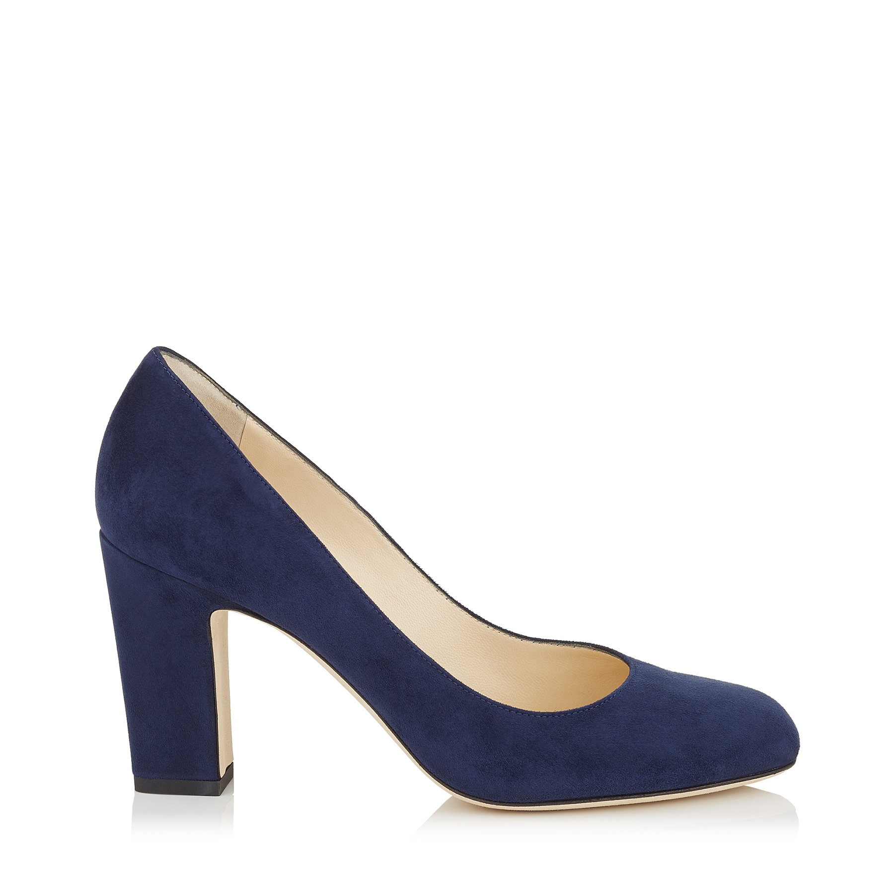 BILLIE 85 Navy Suede Round Toe Pumps with Chunky Heel by Jimmy Choo