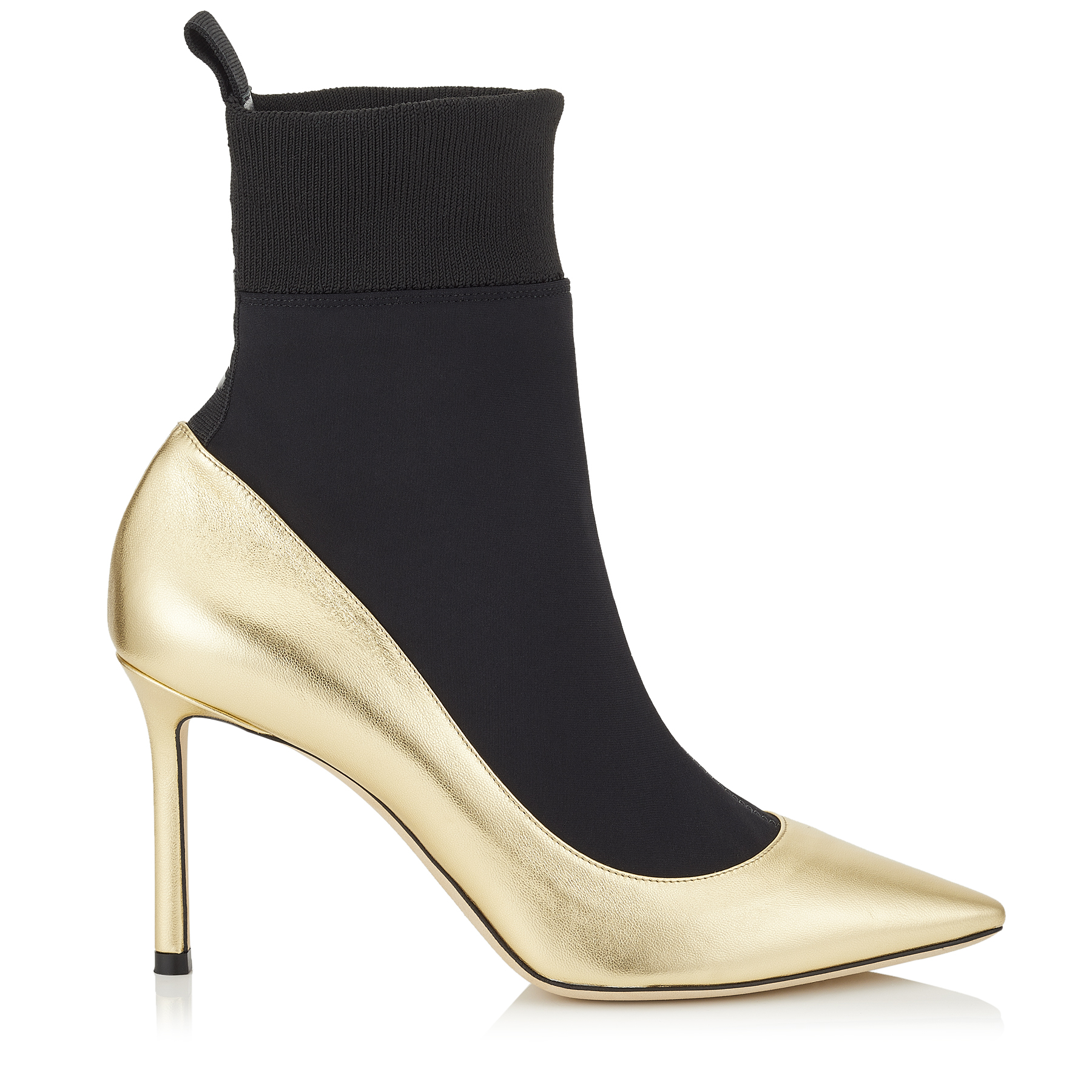 BRANDON 85 Gold Metallic Nappa Leather and Black Stretch Fabric Sock Ankle Boots by Jimmy Choo
