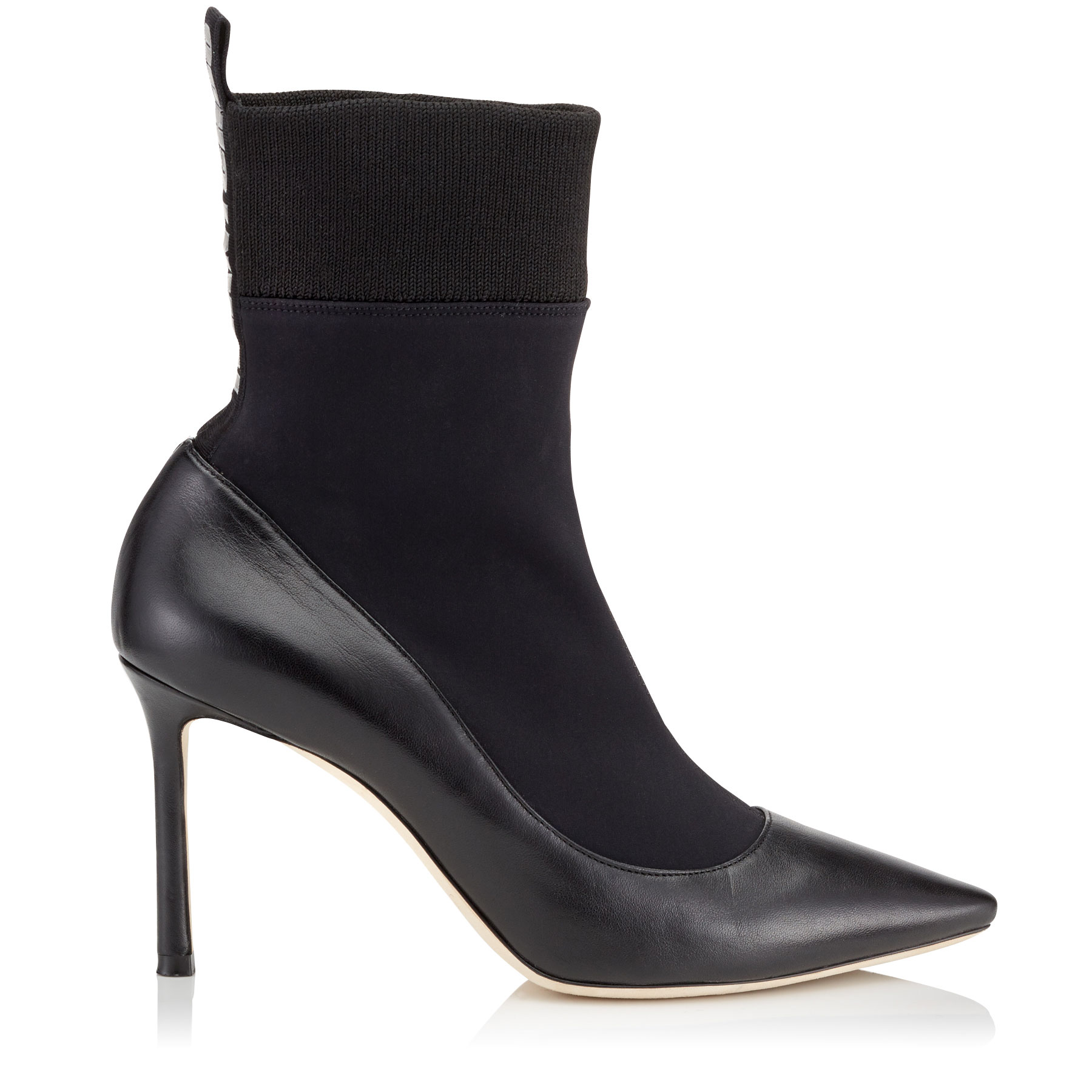 BRANDON 85 Black Nappa Leather and Stretch Fabric Sock Ankle Boots by Jimmy Choo