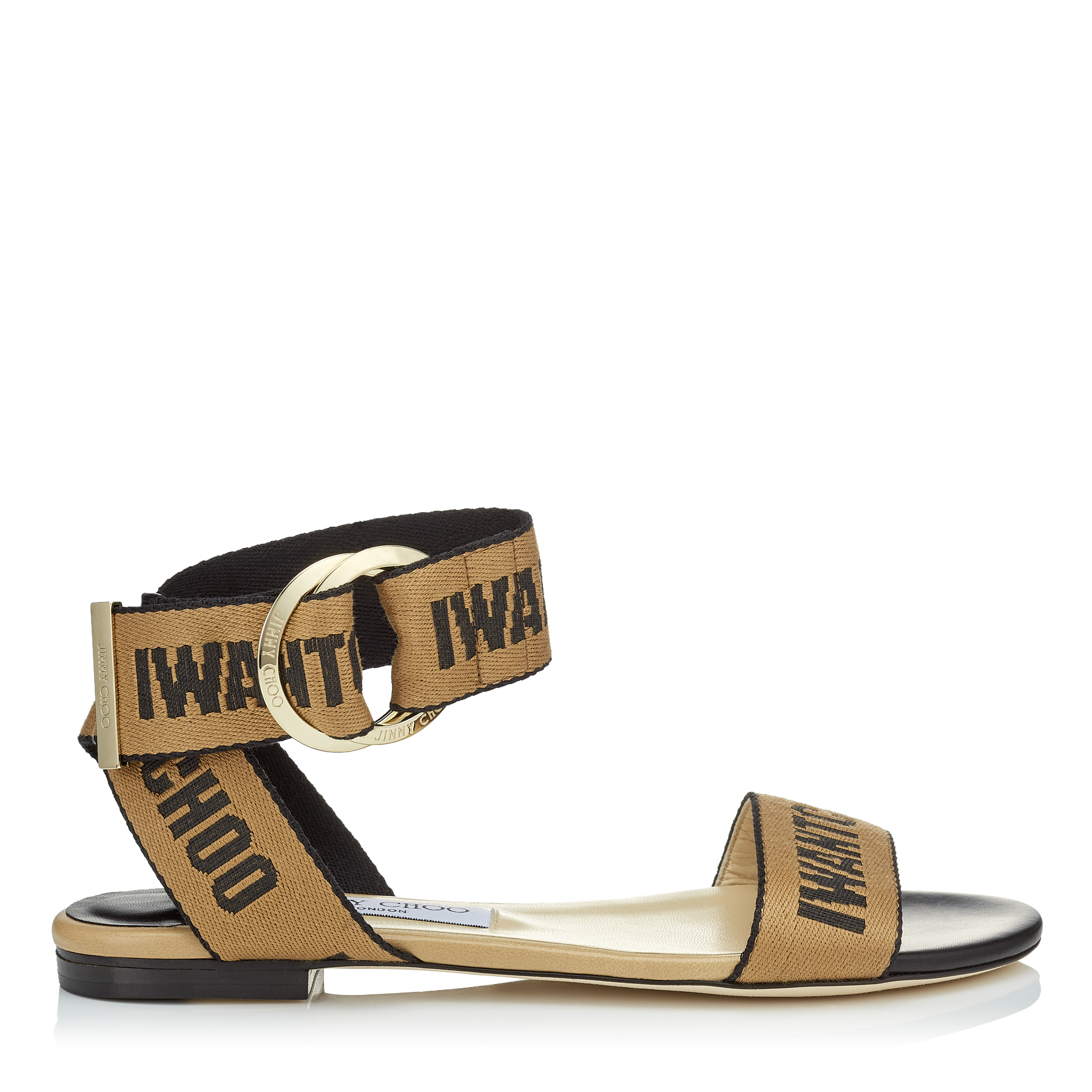 Photo of BREANNE FLAT Black Nappa Leather Sandals with Nude and Black Logo Tape by Jimmy Choo womens shoes - buy Jimmy Choo footwear online