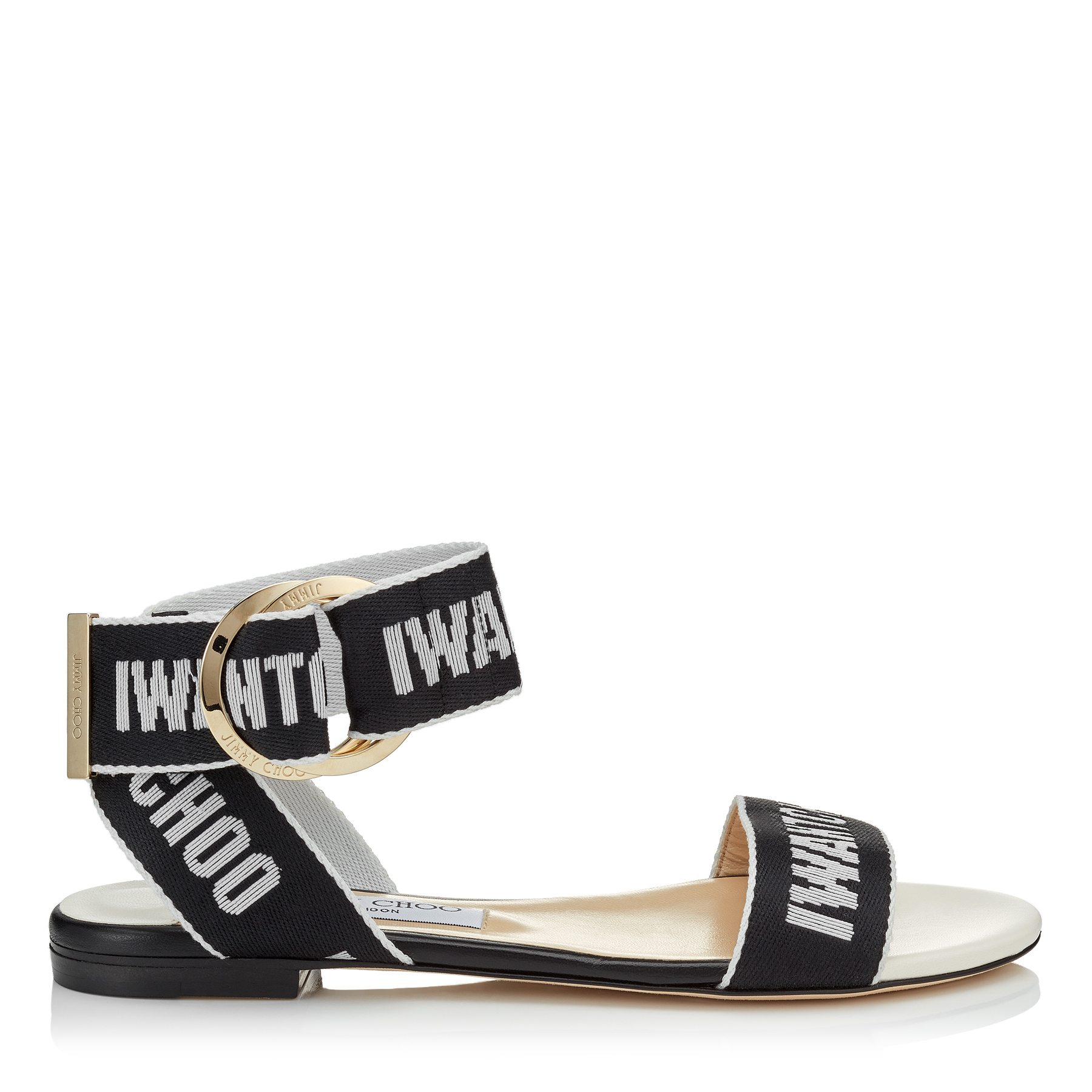 BREANNE FLAT Black and Chalk Logo Tape Sandals by Jimmy Choo
