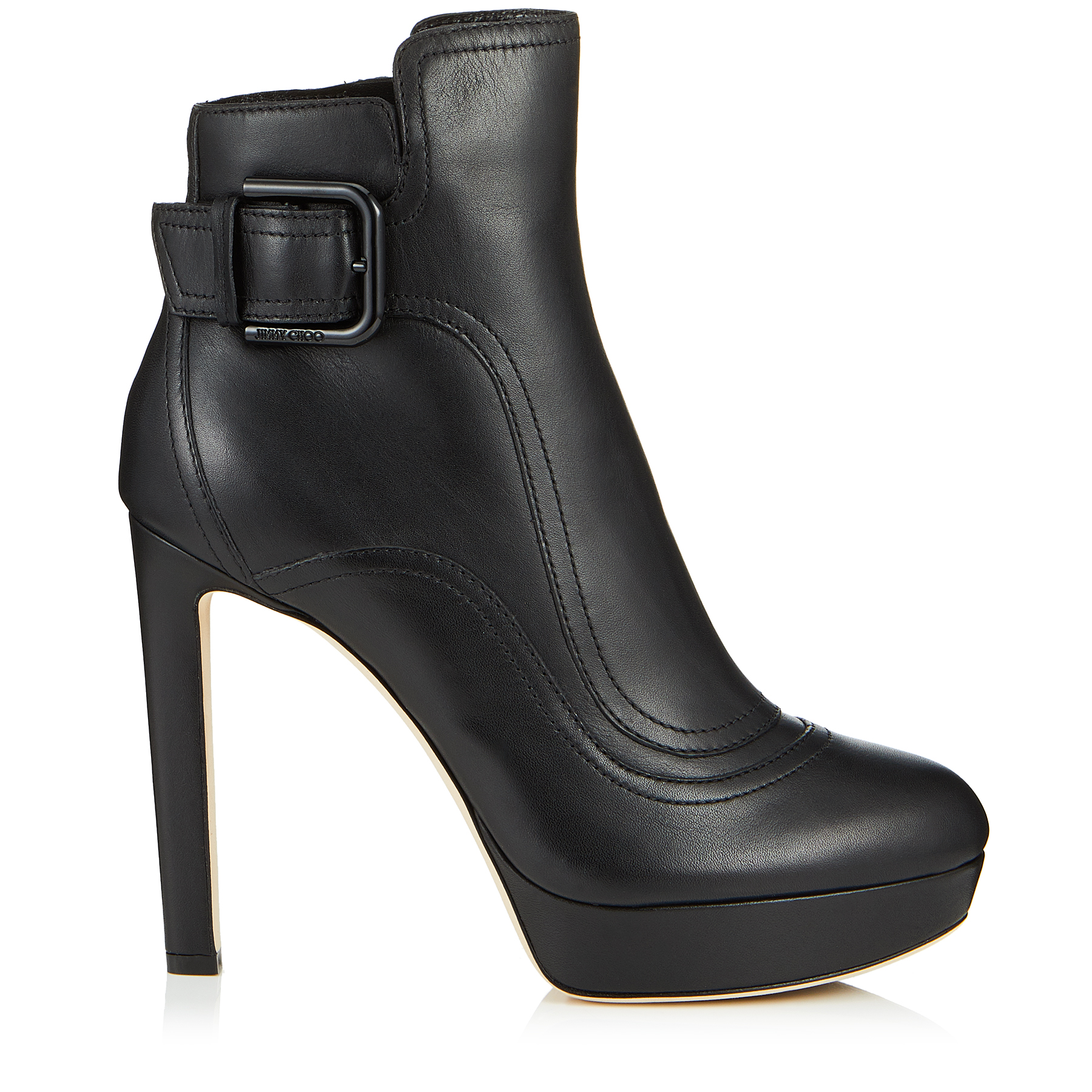 BRITNEY 115 Black Smooth Leather Platform Booties by Jimmy Choo