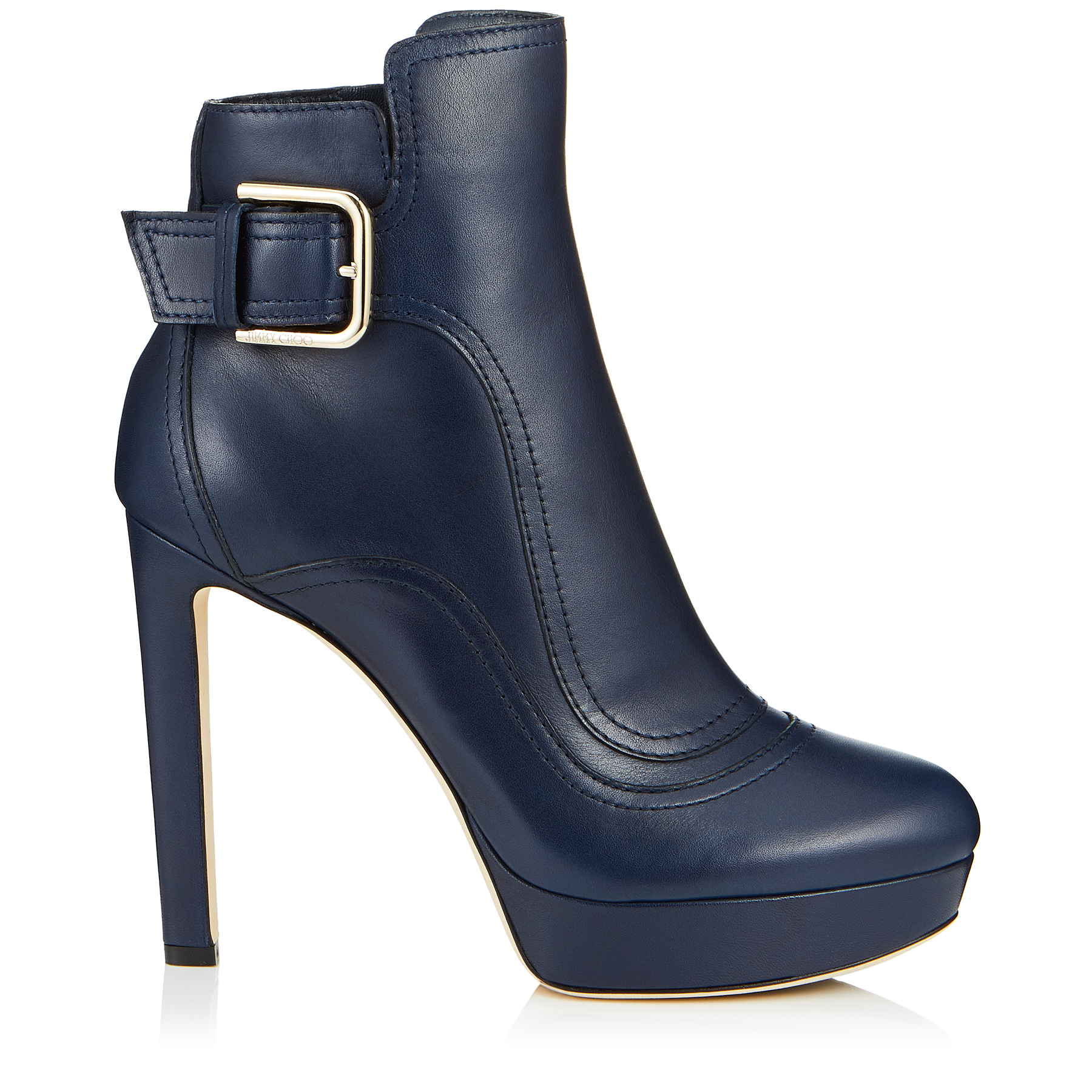 BRITNEY 115 Navy Smooth Leather Platform Booties by Jimmy Choo