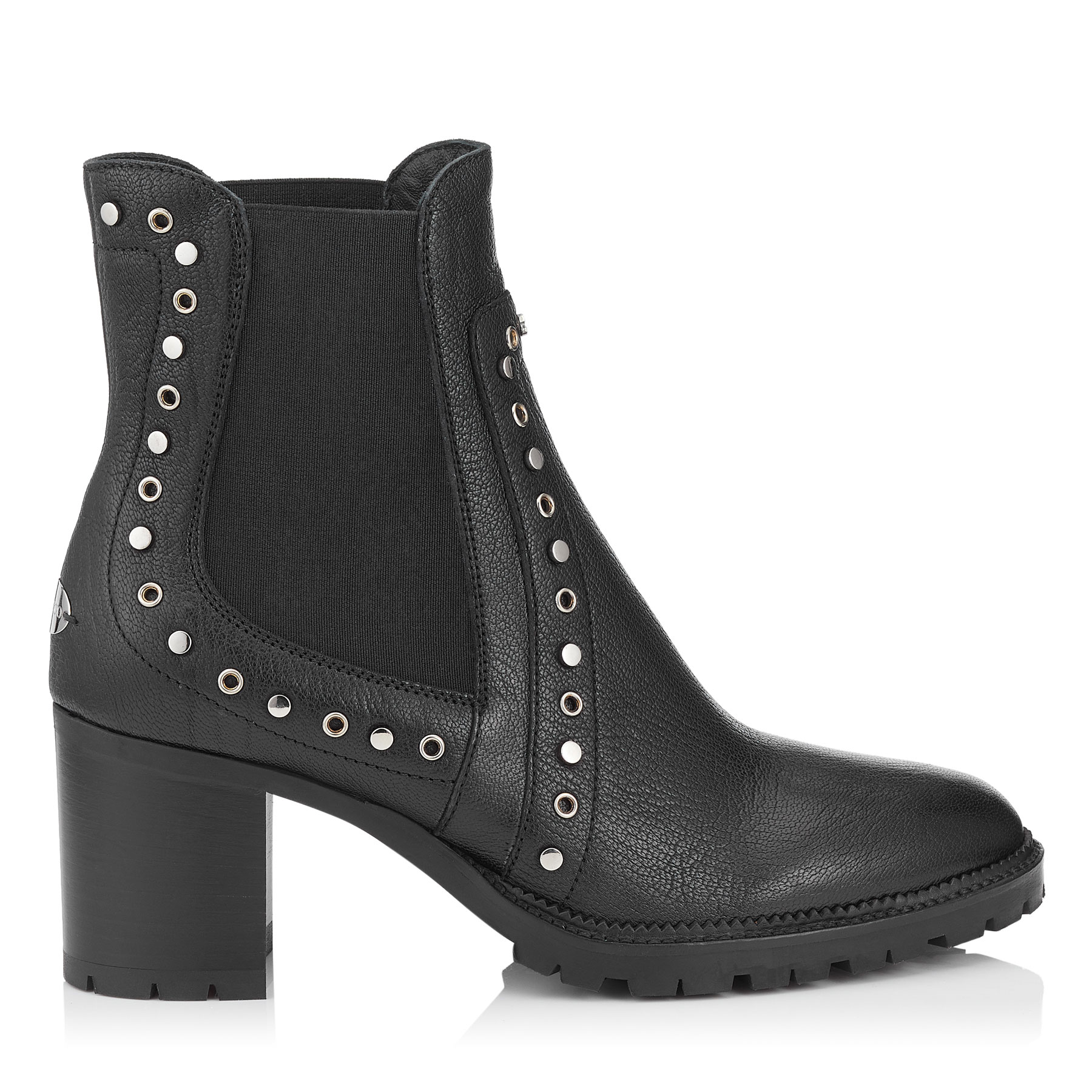 BURROW 65 Black Grainy Leather Biker Boots by Jimmy Choo