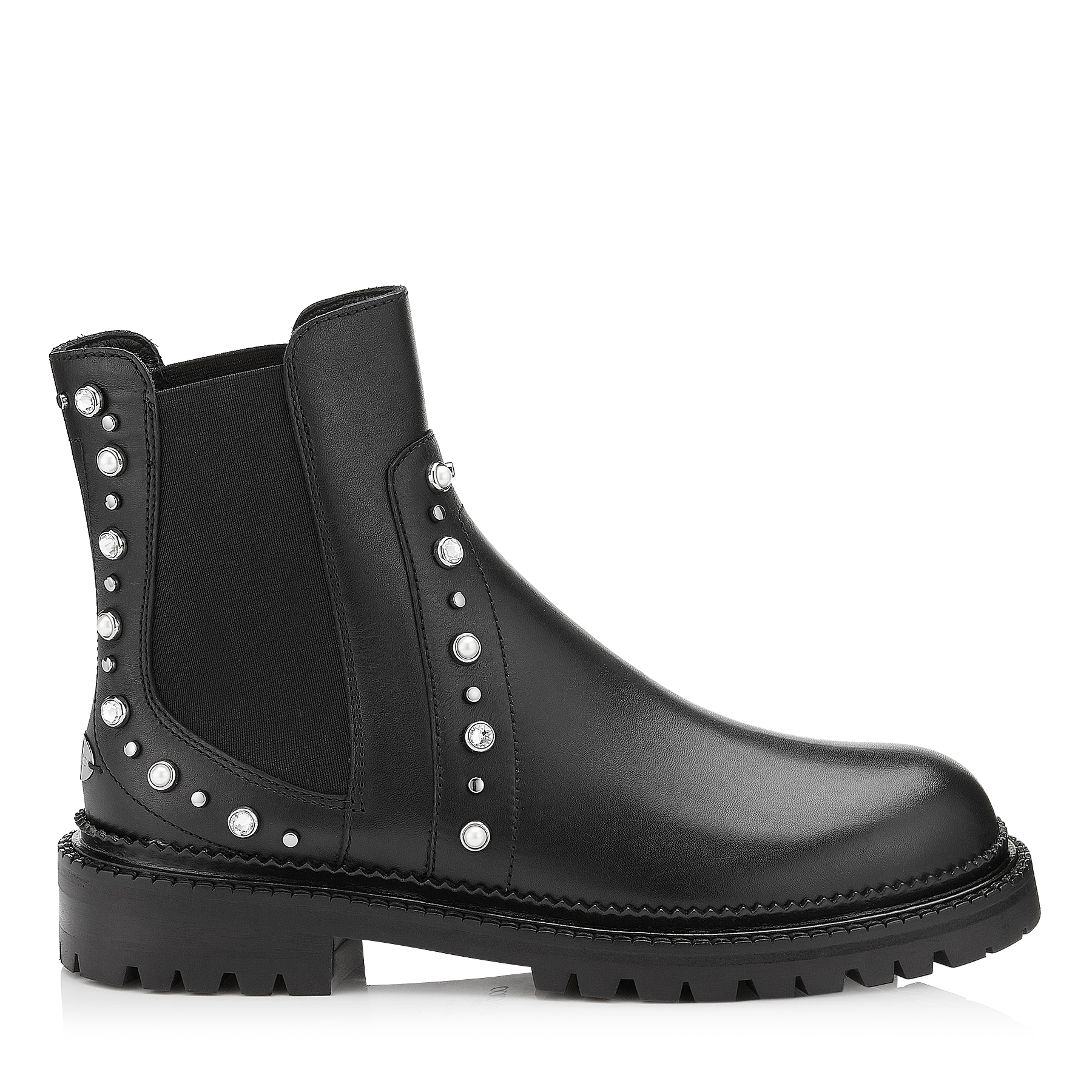 BURROW FLAT Black Leather Biker Boots with Beads and Crystals by Jimmy Choo