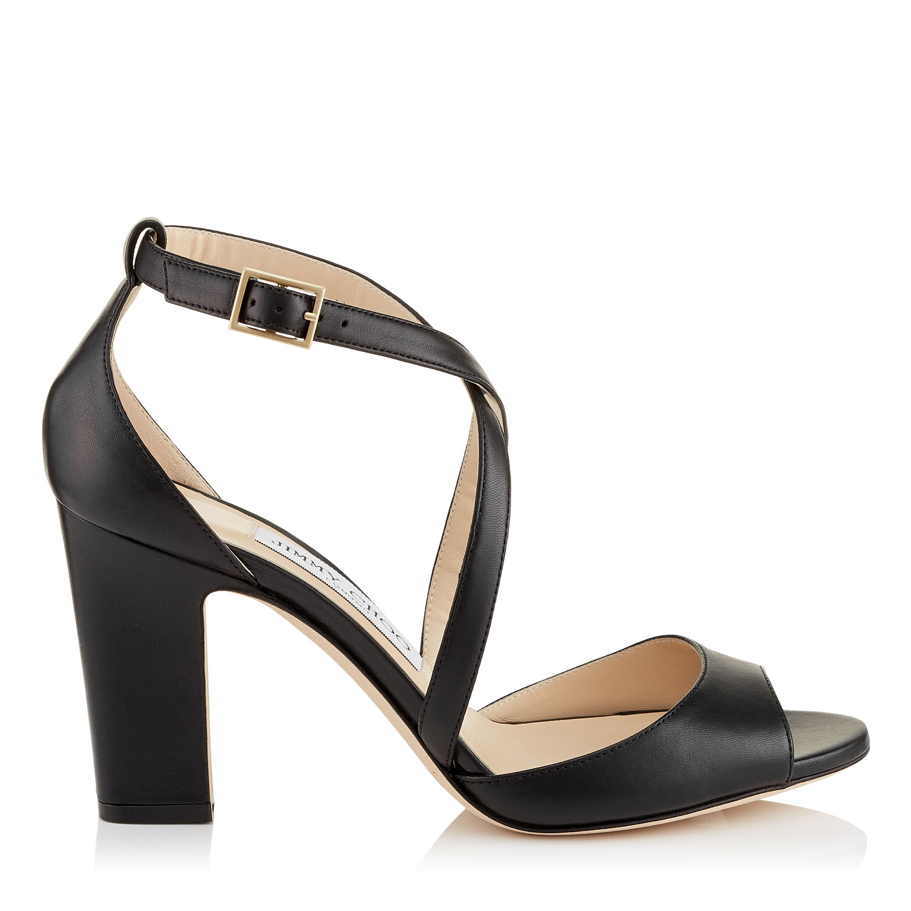 CARRIE 85 Black Nappa Leather Peep Toe Sandals by Jimmy Choo