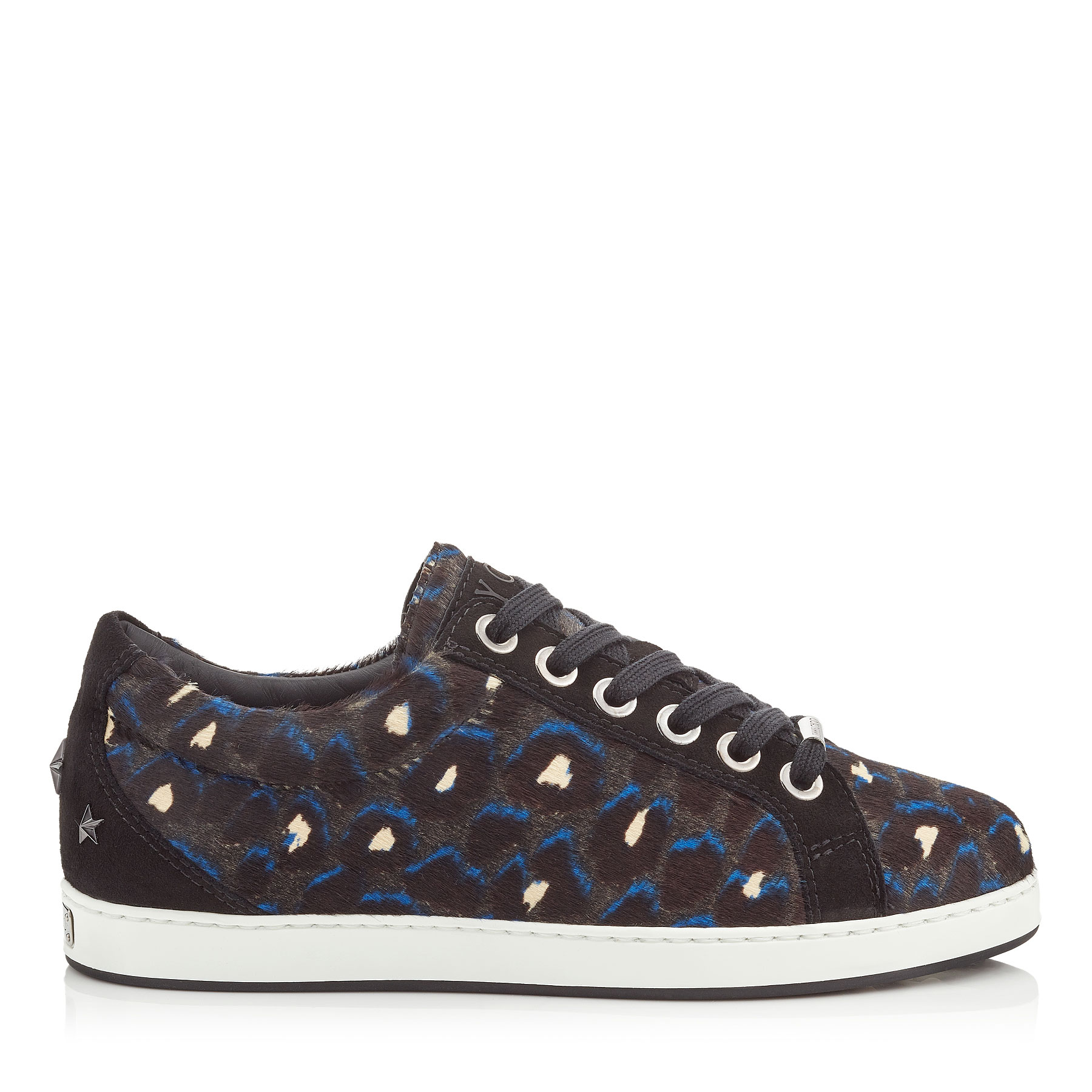 CASH/F Pop Blue Mix Leopard Print Pony and Black Suede Low Top Trainers by Jimmy Choo