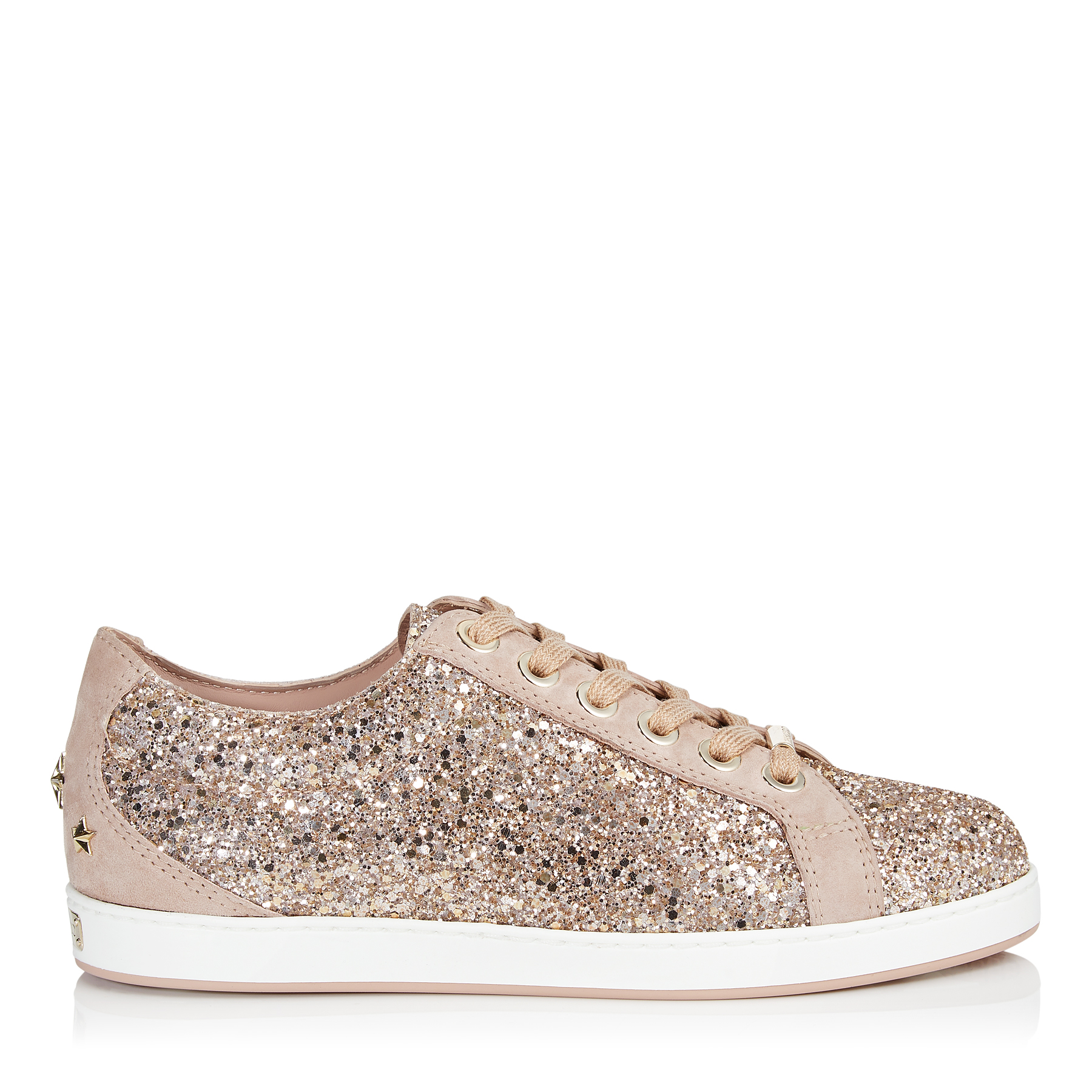 CASH/F Ballet Pink Shadow Coarse Glitter Fabric Low Top Trainers by Jimmy Choo