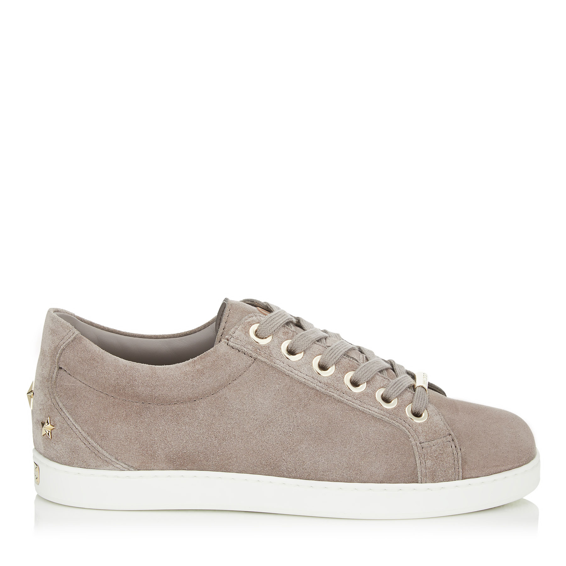 CASH/F Opal Grey Velvet Suede Low Top Trainers by Jimmy Choo