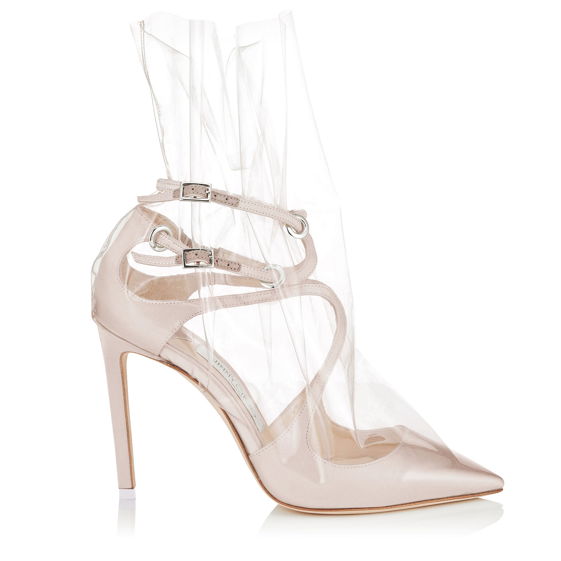 CLAIRE 100 White Satin Pointy Toe Pumps with Ruched TPU by Jimmy Choo