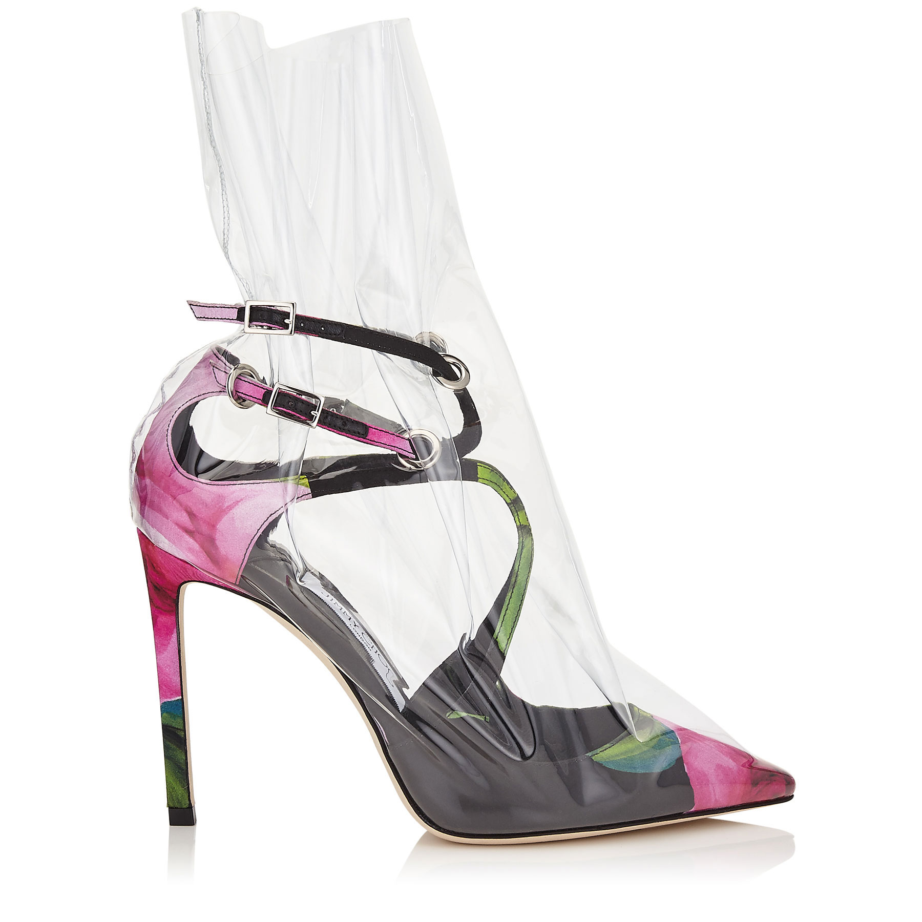 CLAIRE 100 Floral Printed Pointy Toe Pumps with Ruched TPU by Jimmy Choo