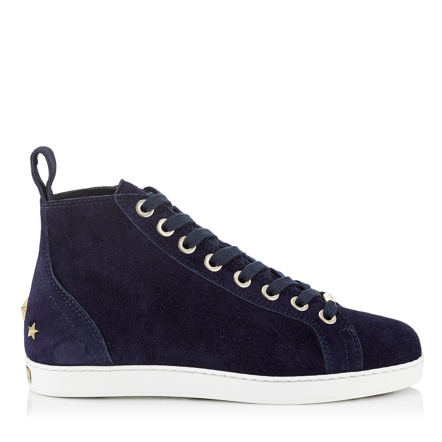 COLT/F Navy Velvet Suede High Top Trainers by Jimmy Choo