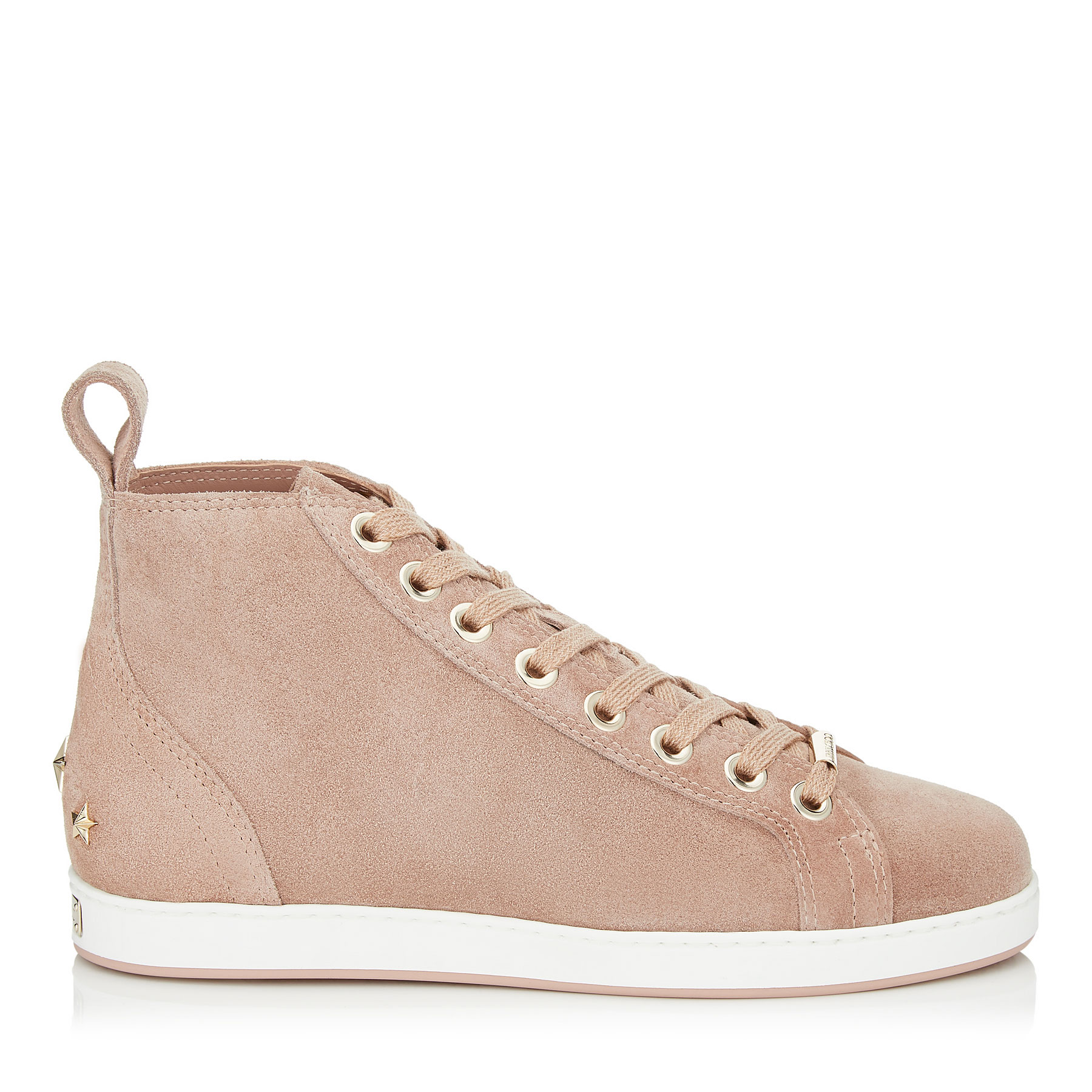 COLT/F Ballet Pink Velvet Suede High Top Trainers by Jimmy Choo