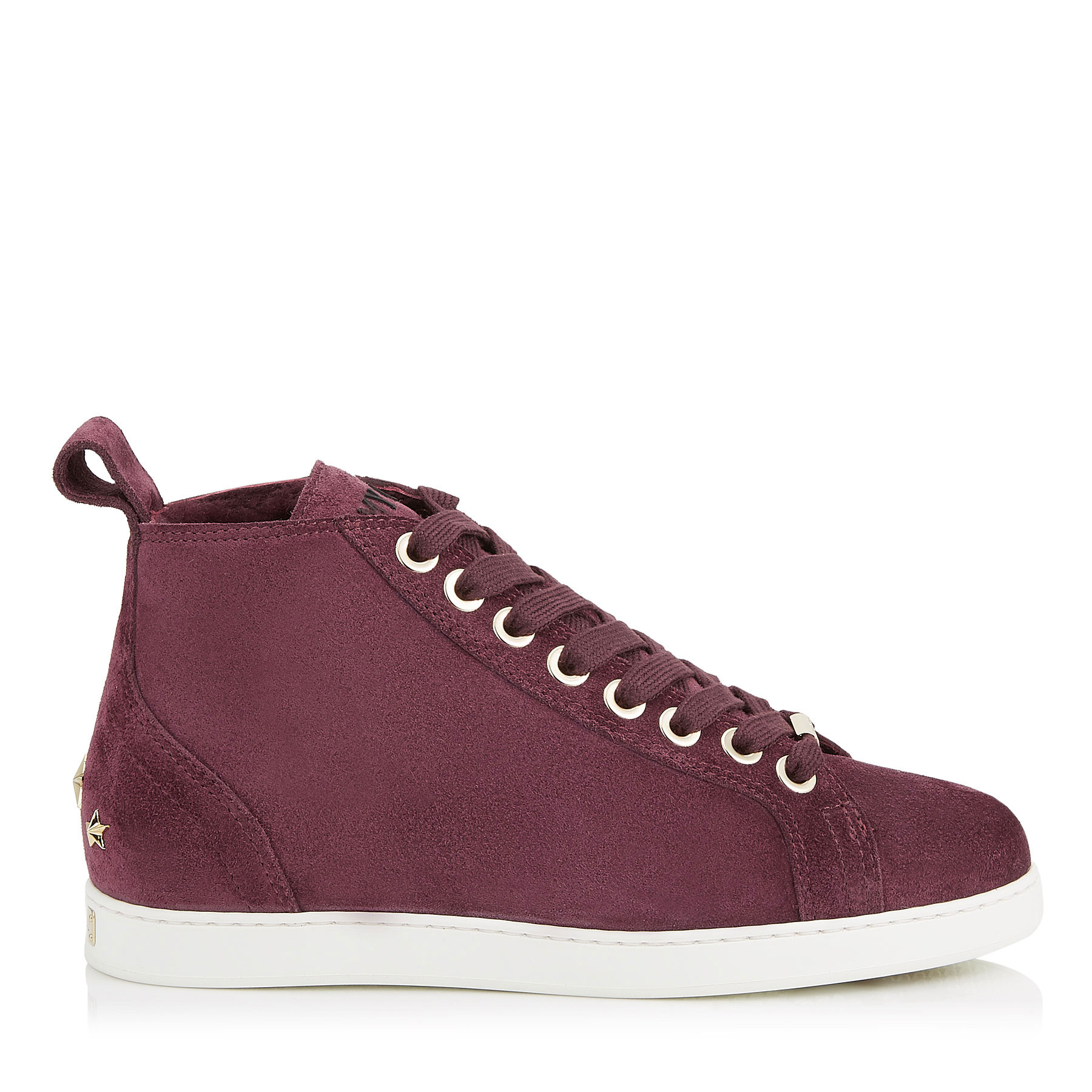 COLT/F Grape Velvet Suede High Top Trainers with Shearling Lining by Jimmy Choo